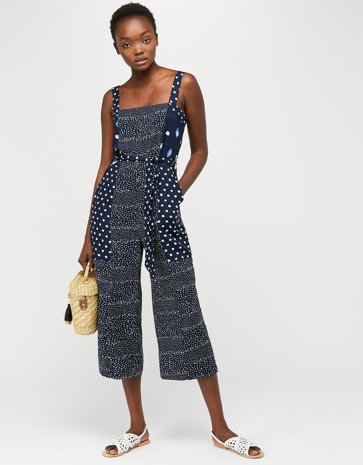 f3bd69da7a Monsoon Edie Print Crop Jumpsuit in Blue - Lyst