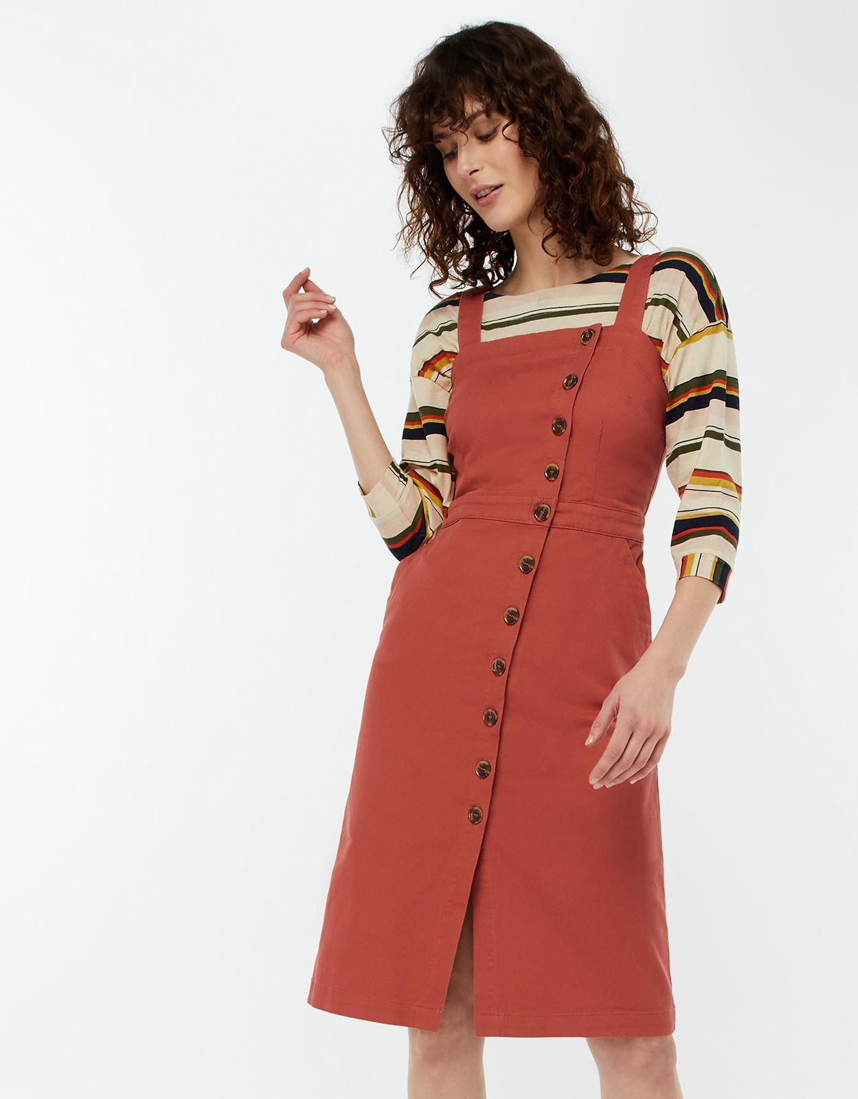 0c4b8e42466 Monsoon Dori Denim Pinafore Dress in Red - Lyst
