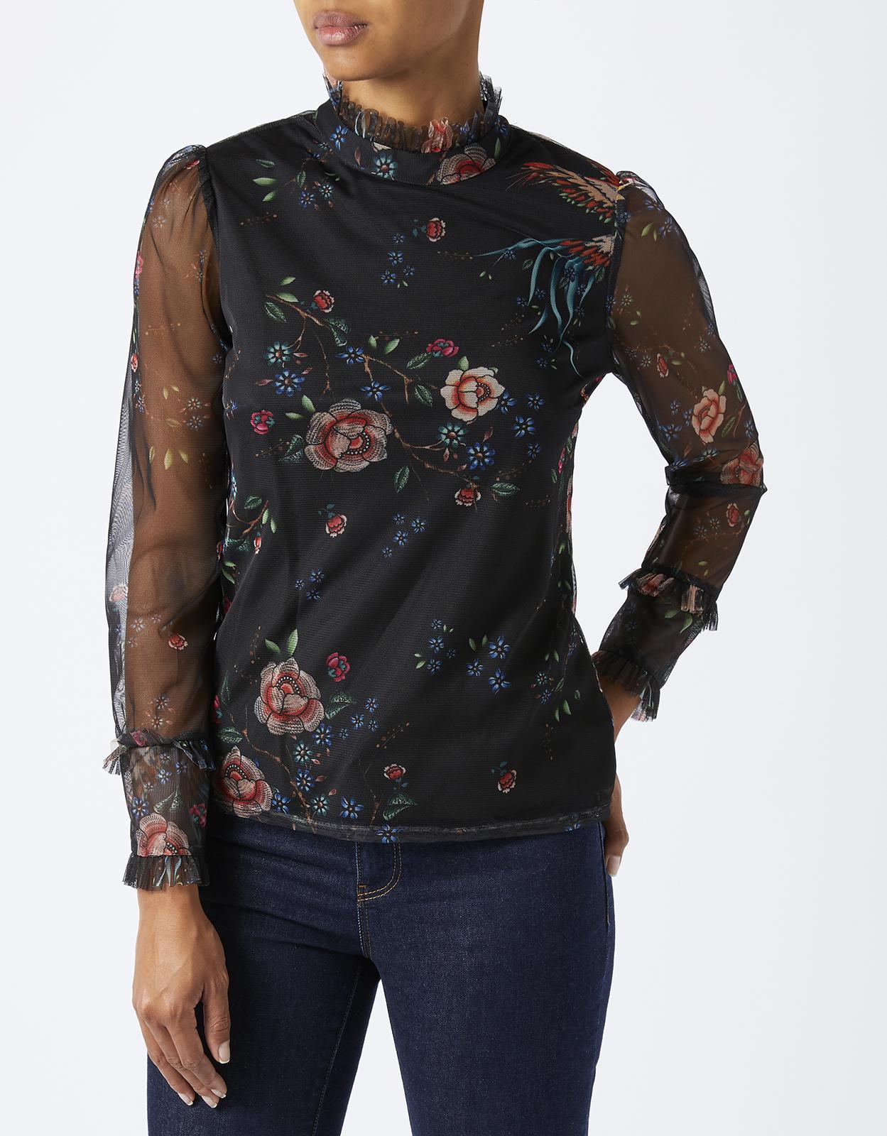 Cheap Monsoon Fiorella Printed Mesh Top on sale