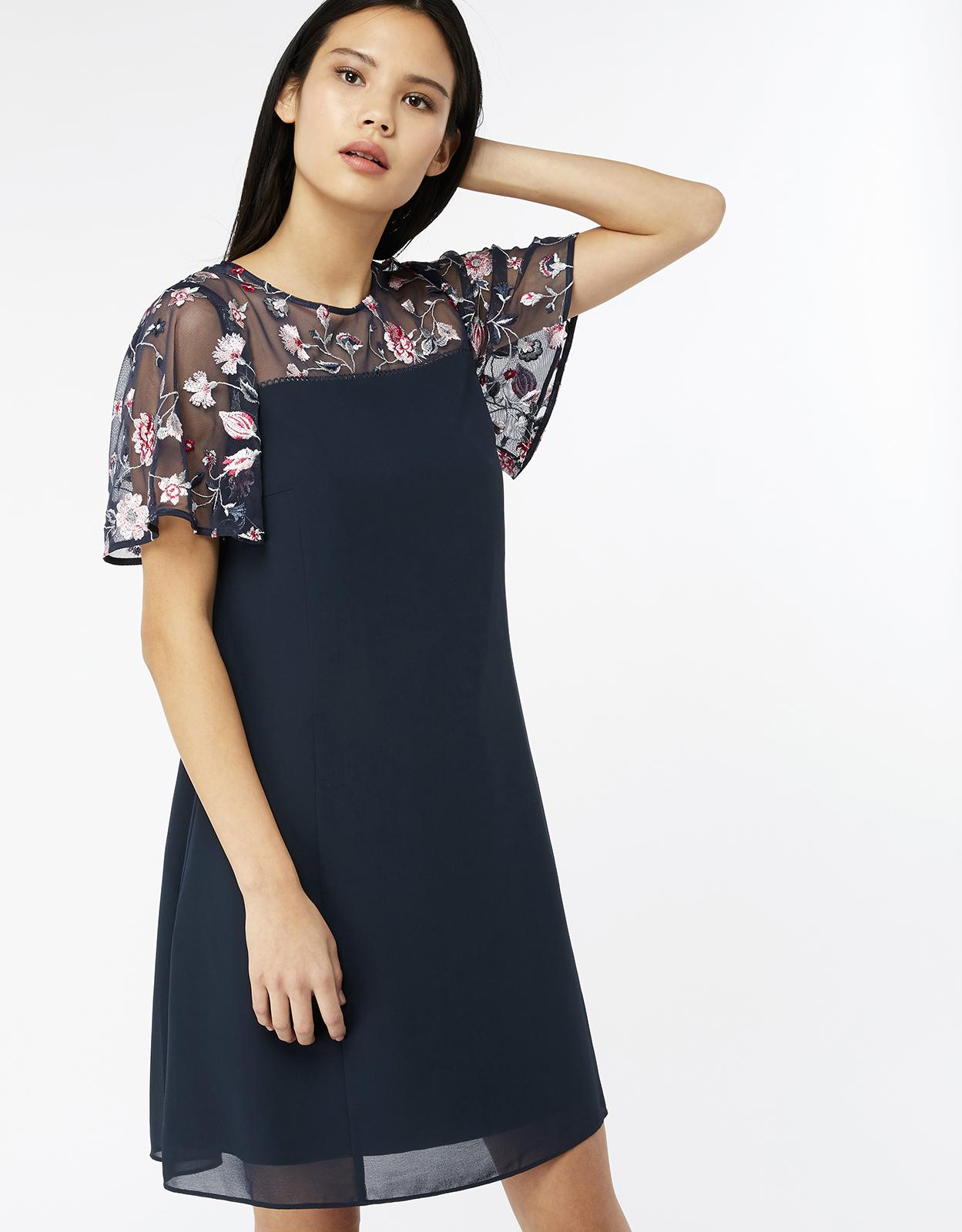 lyst - monsoon cara embroidered dress in blue - save 23%