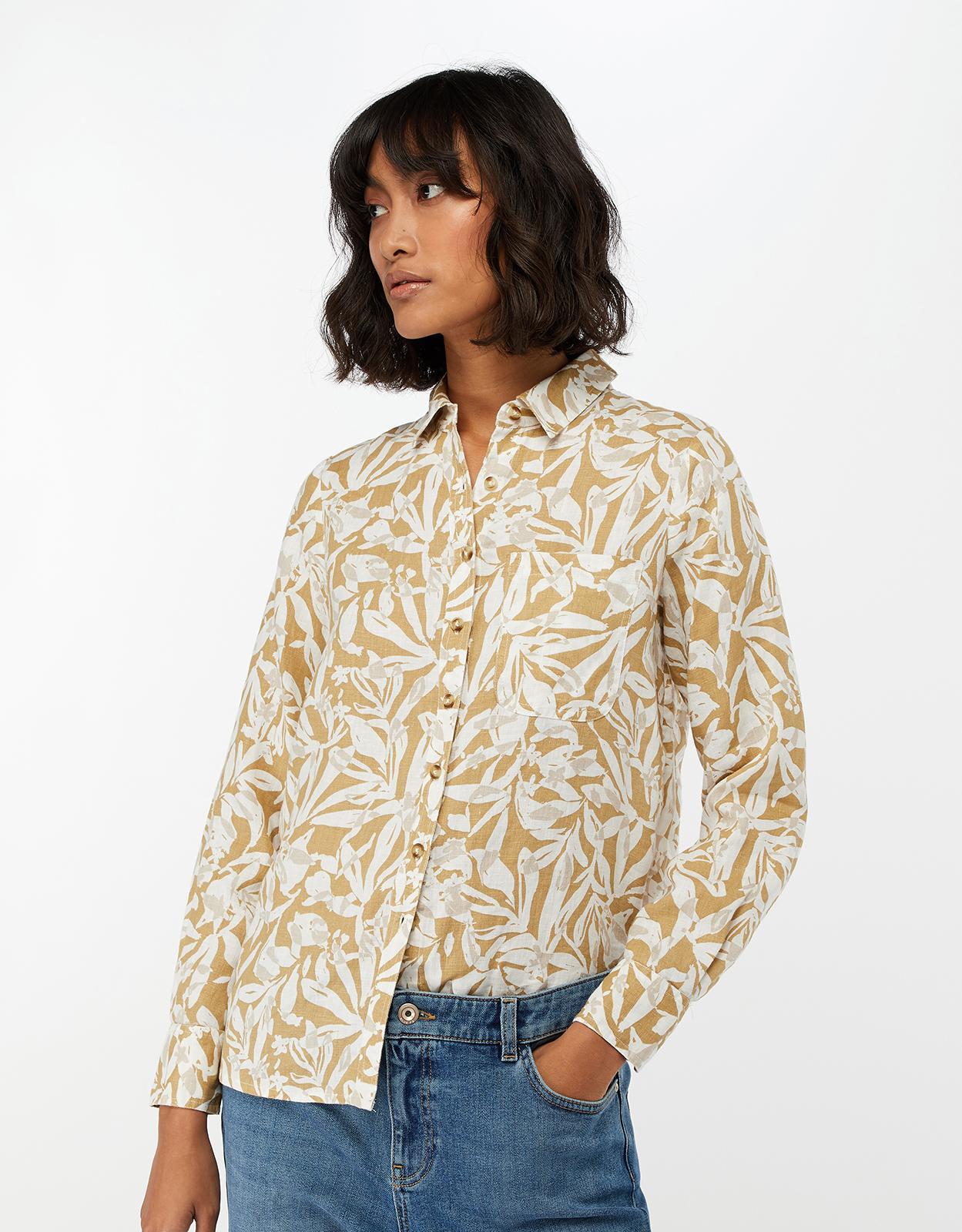 689859c7f42 Monsoon Courtney Print Linen Shirt in Natural - Lyst