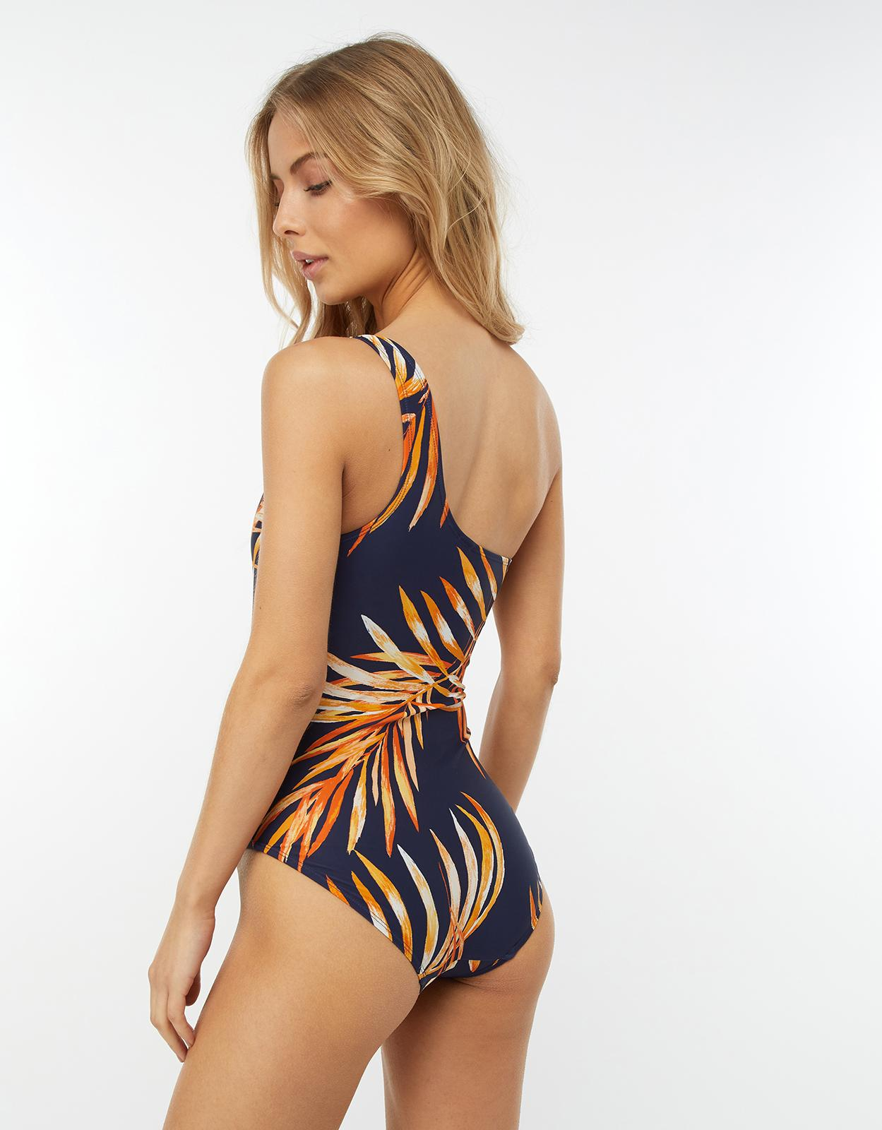 9e8bcbe8554bc Monsoon Hana Palm Print One Shoulder Swimsuit in Blue - Lyst