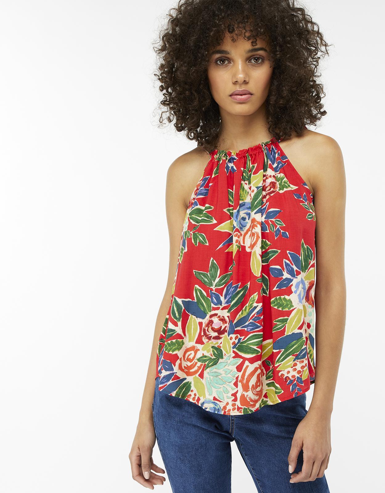 125ed63529dea Monsoon Rosaline Print Cami Top in Red - Lyst