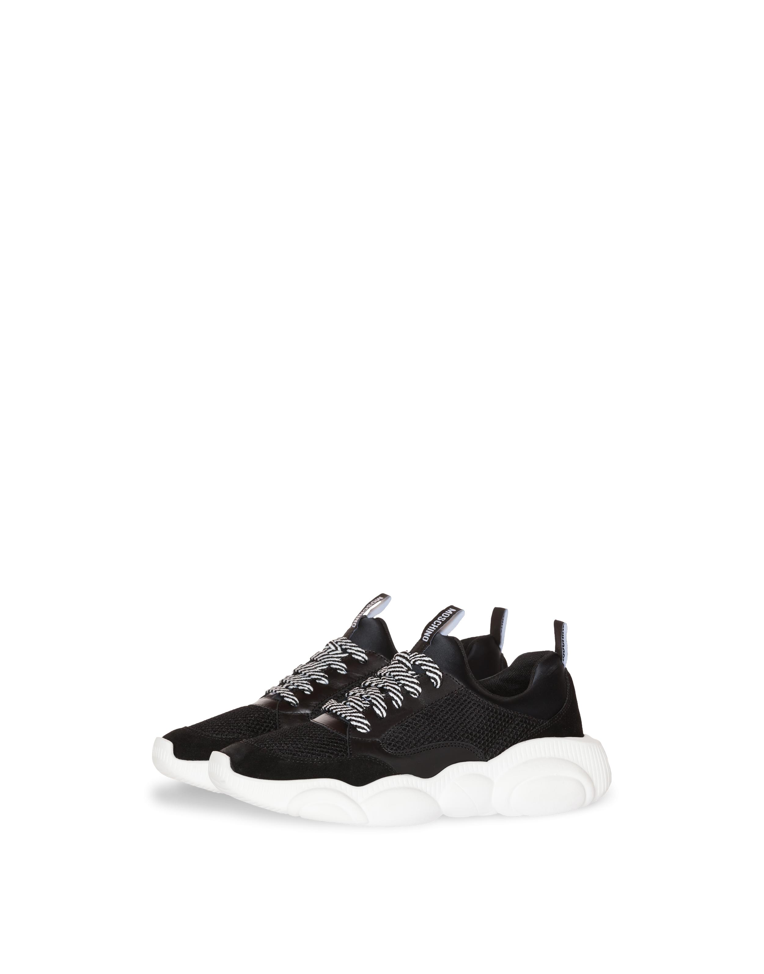 90f699cf40e4e Moschino - Black Teddy Run Sneakers In Mesh, Calfskin And Split Leather -  Lyst. View fullscreen
