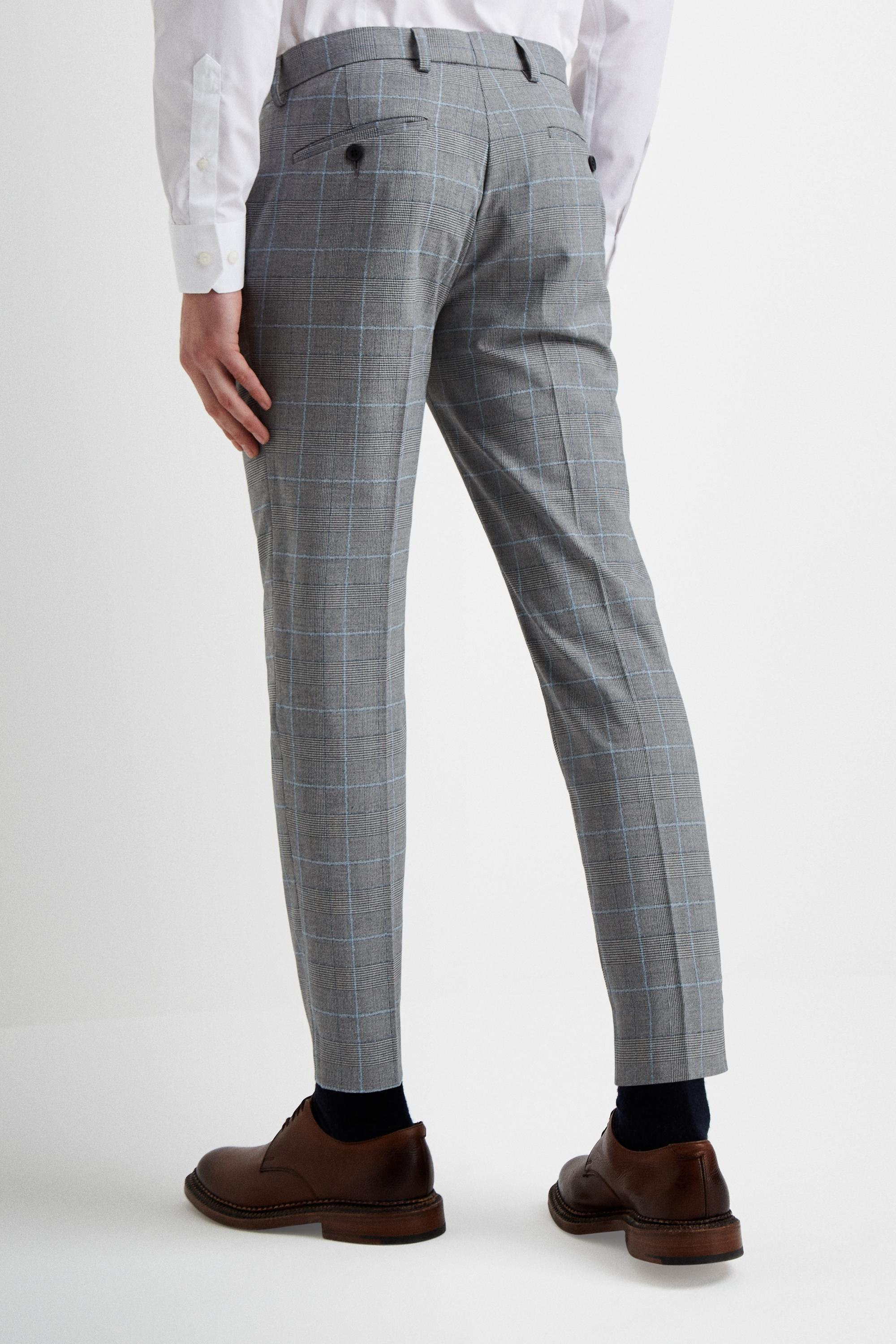 6835f494c98 Moss London - Gray Slim Fit Grey Pow With Blue Boucle Windowpane Cropped  Trousers for Men. View fullscreen