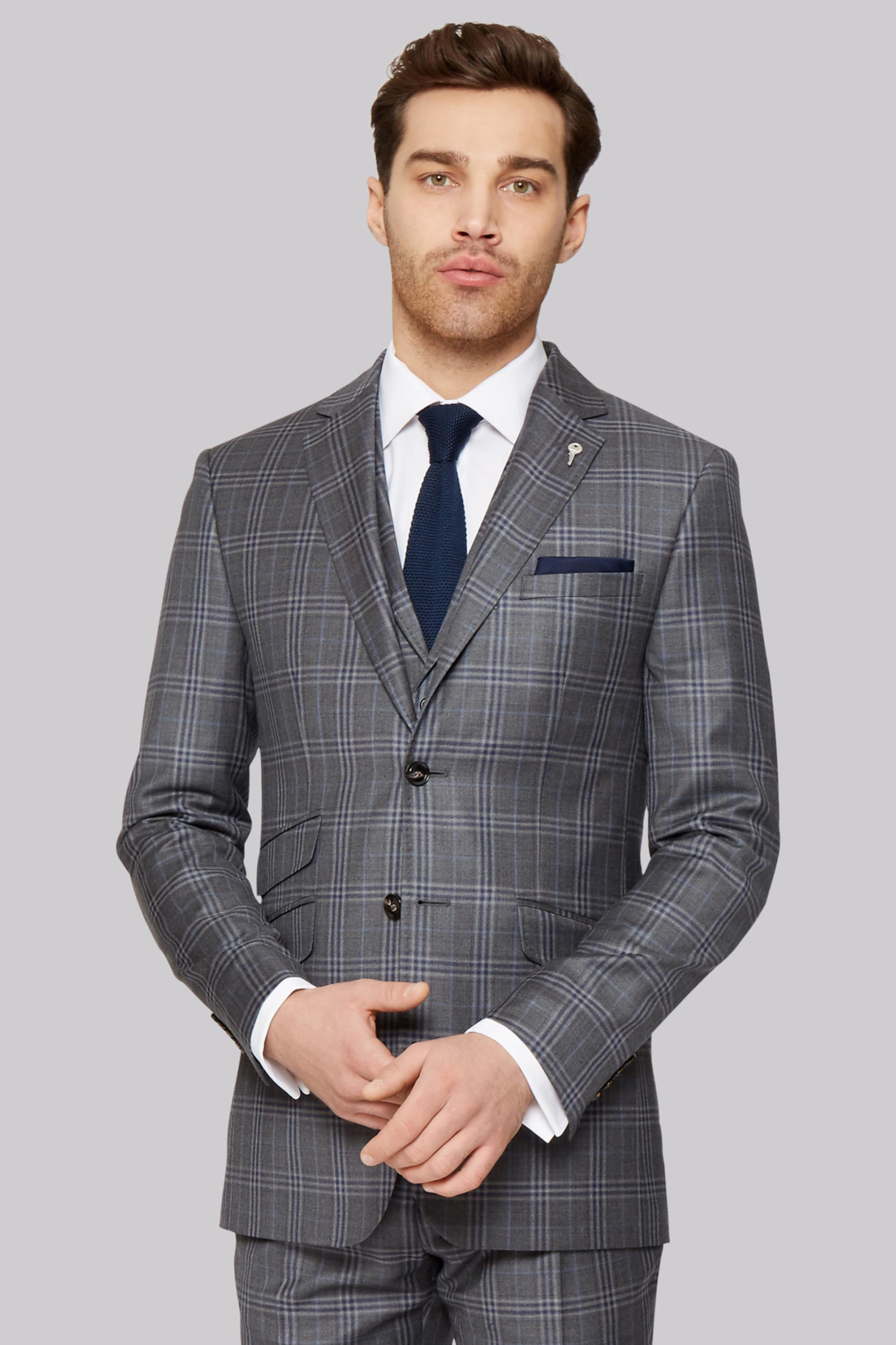 745fdcf828f3a Ted Baker Tailored Fit Grey Check Jacket in Gray for Men - Lyst