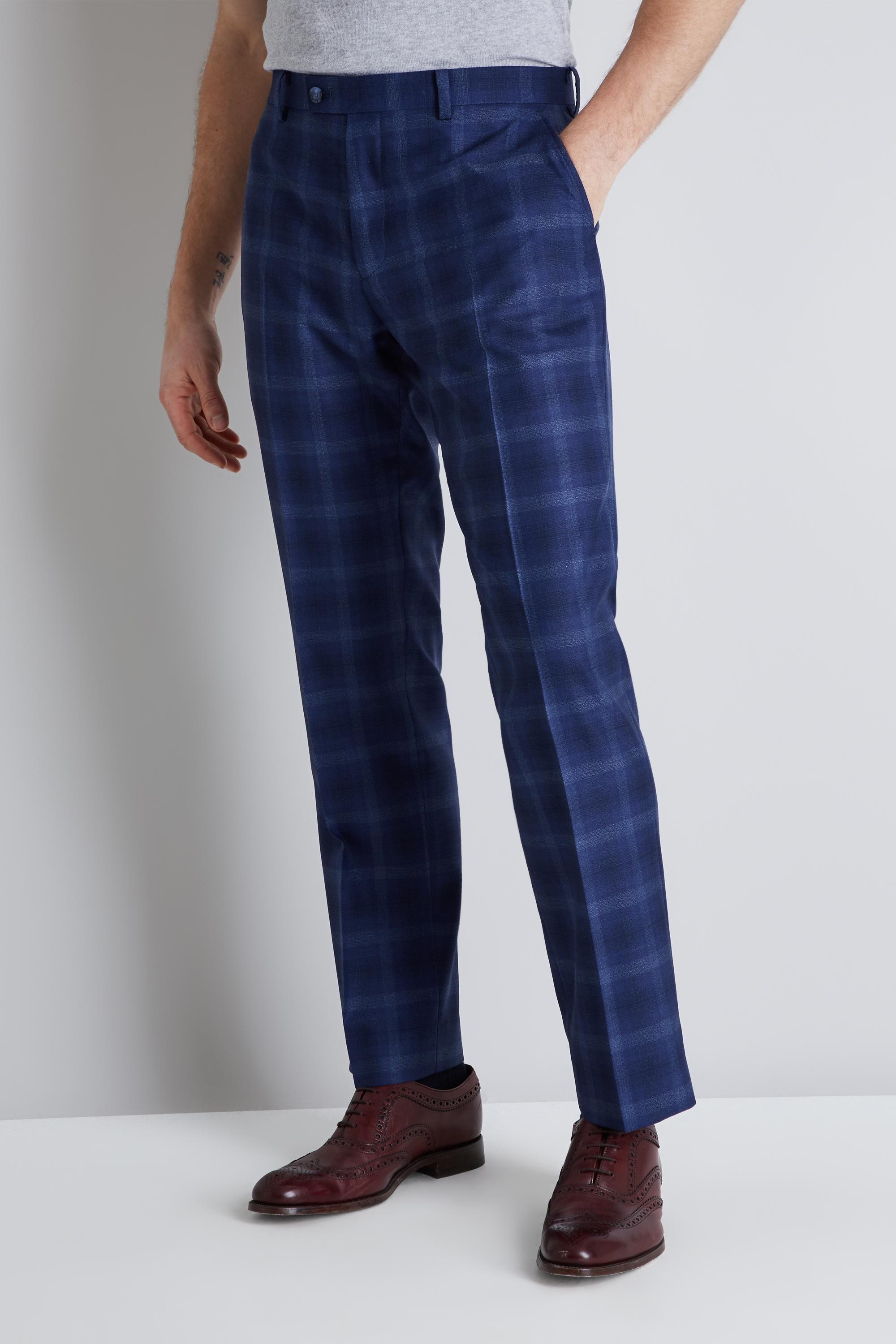 09be608f2e8a Lyst - Ted Baker Tailored Fit Blue Bold Check Trousers in Blue for Men