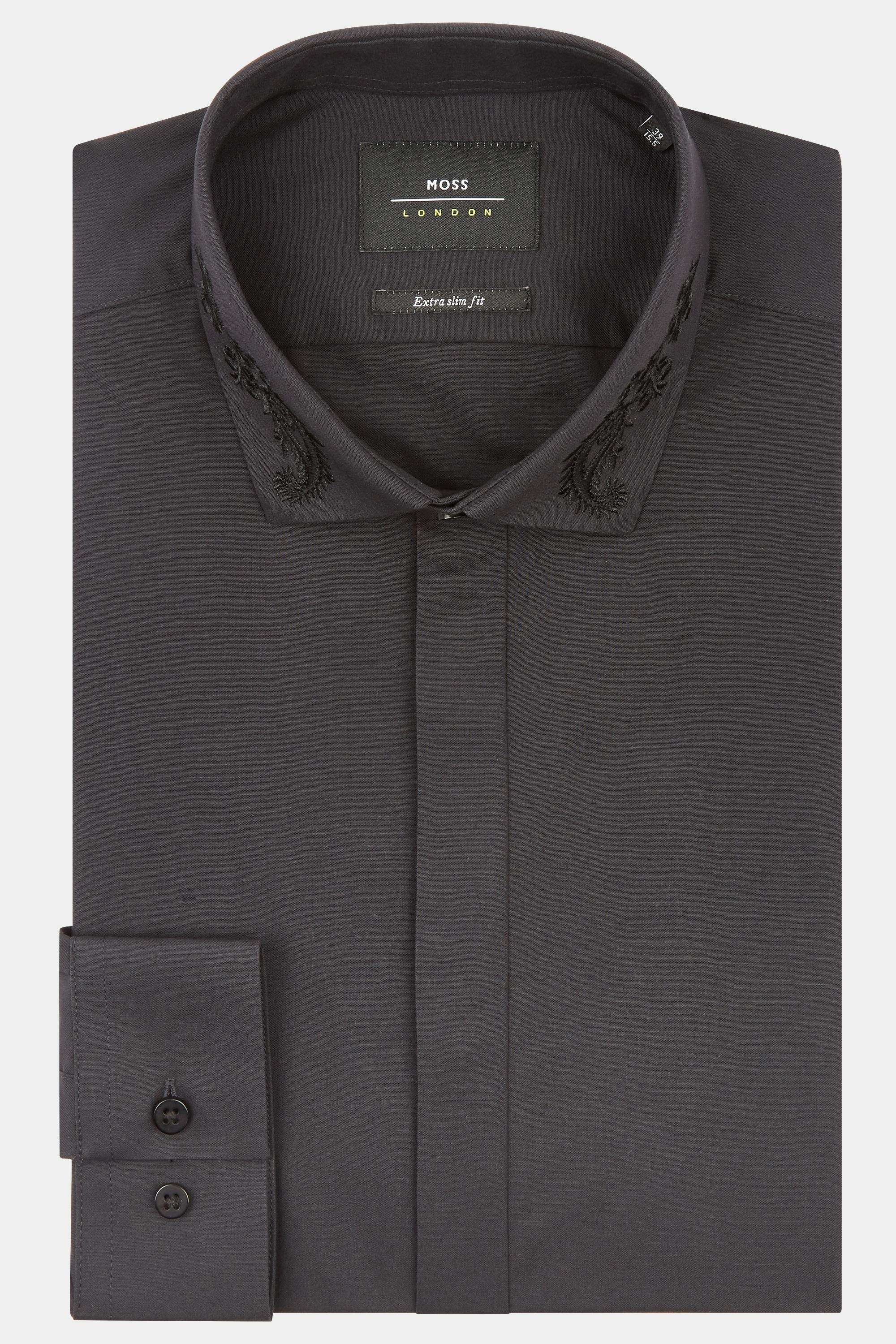 Lyst Moss London Extra Slim Fit Black Single Cuff Embroidered