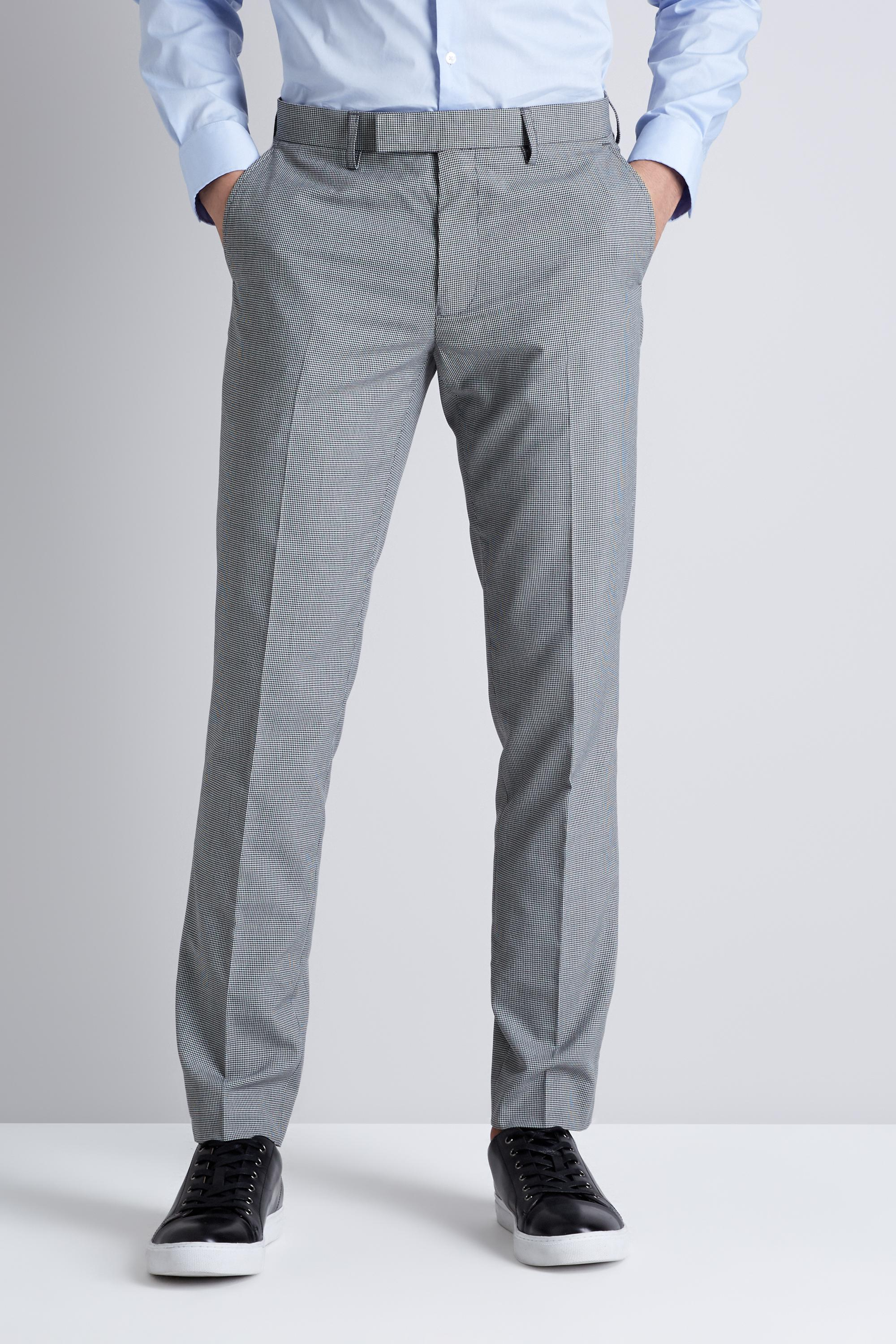 5a9619af434e7 Moss London Skinny Fit Black And White Puppytooth Formal Trousers in ...