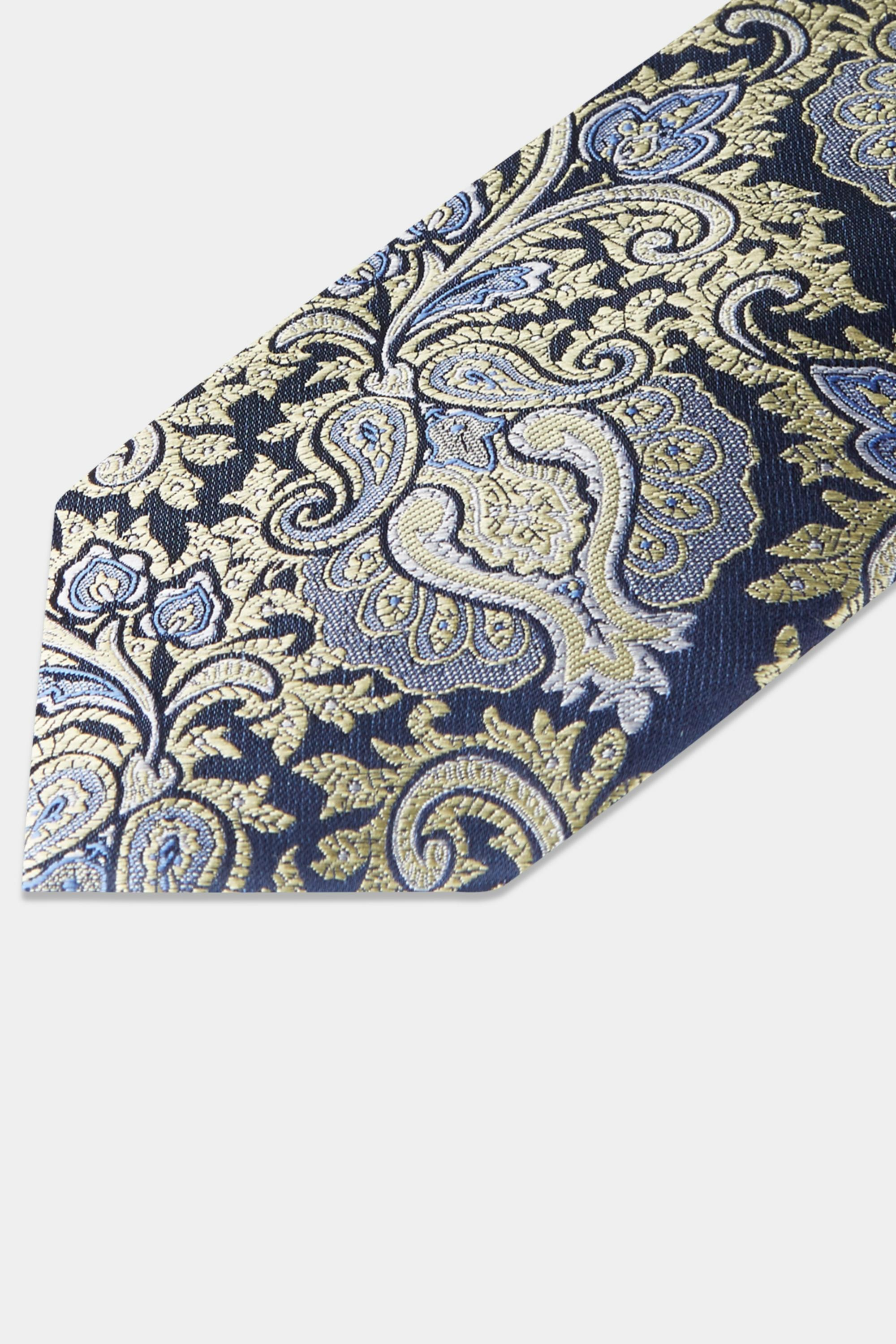 0ae3e262f2a9 Moss Esq. Gold & Navy Large Paisley Tie in Metallic for Men - Lyst