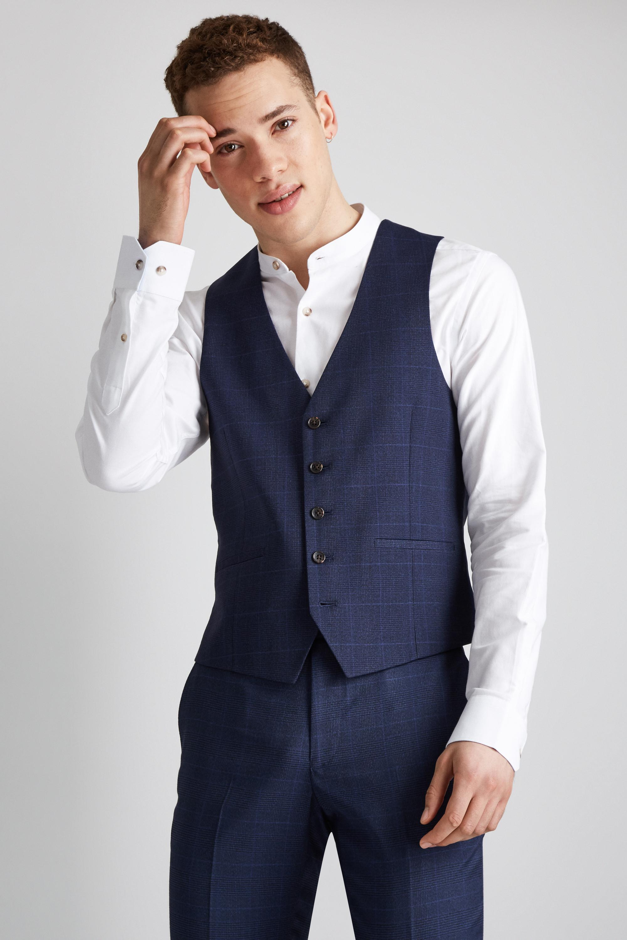 74aaa966967d83 Lyst - Moss London Skinny Fit Unstructured Blue Check Waistcoat in ...
