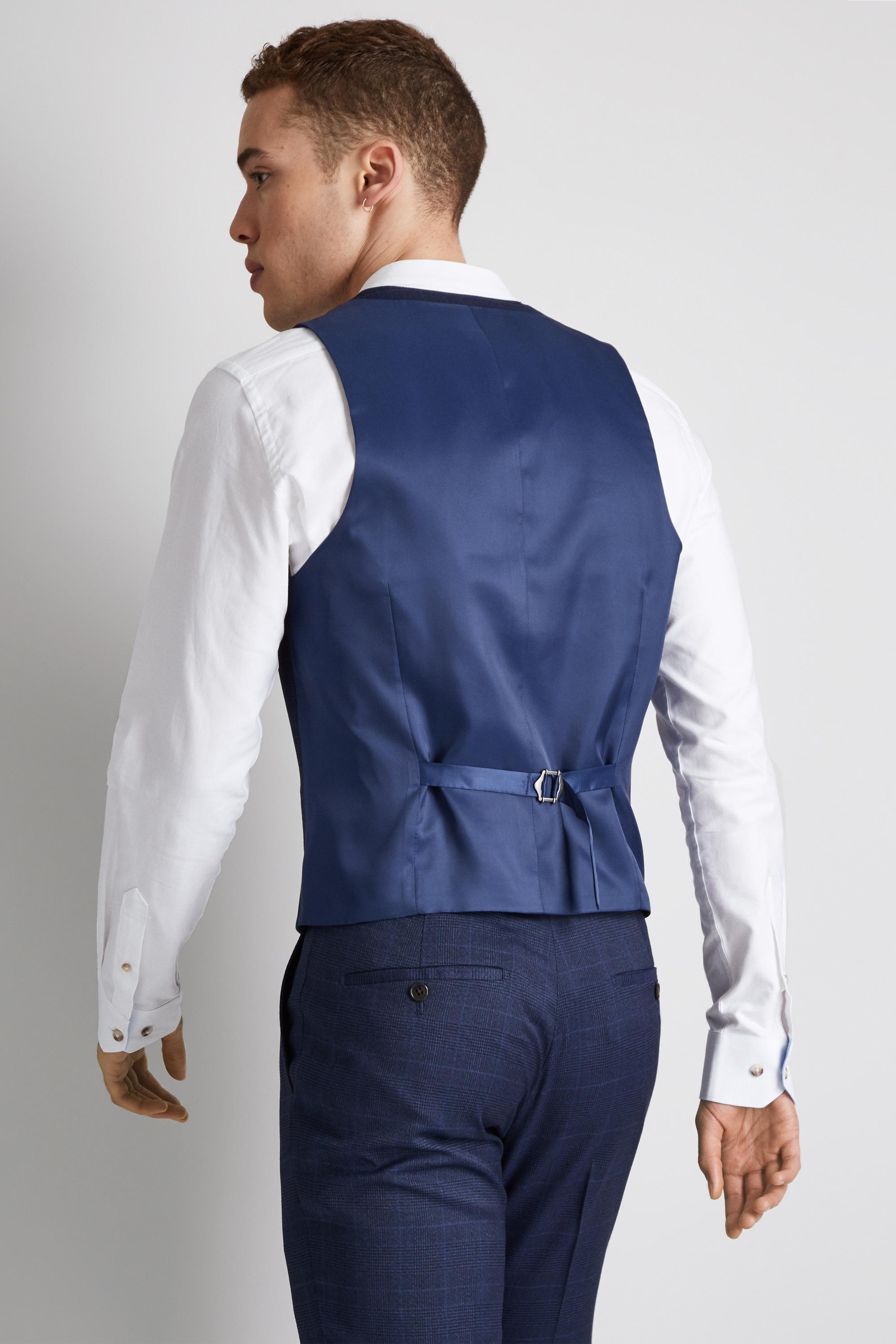 60db980bd9d059 Moss London - Skinny Fit Unstructured Blue Check Waistcoat for Men - Lyst.  View fullscreen