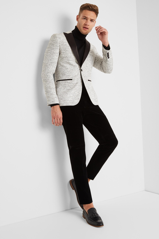 1a66017c45eb ... Skinny Fit White Slub Jacket for Men - Lyst. Visit Moss Bros. Tap to  visit site