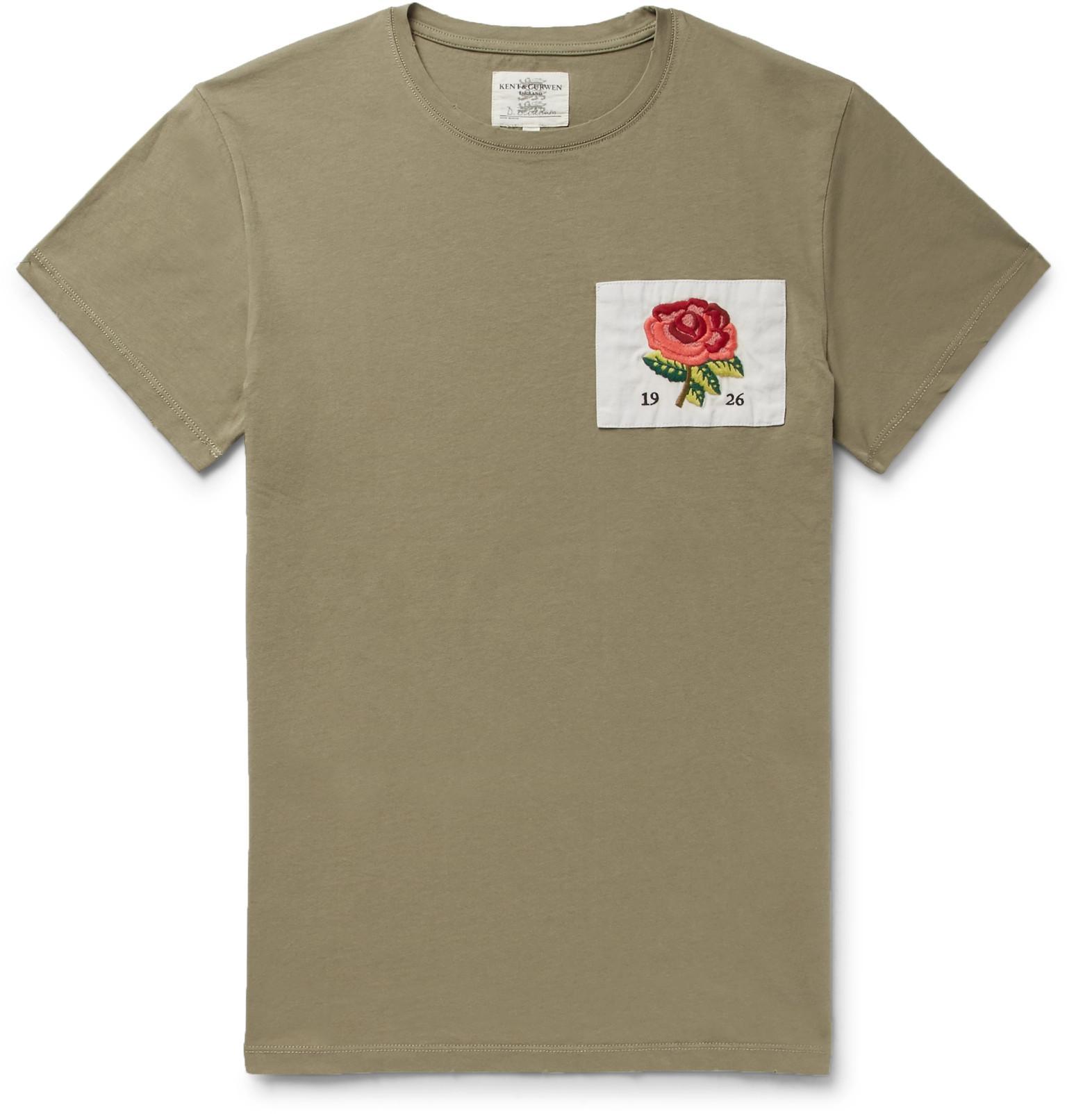 Kent curwen slim fit appliquéd cotton jersey t shirt