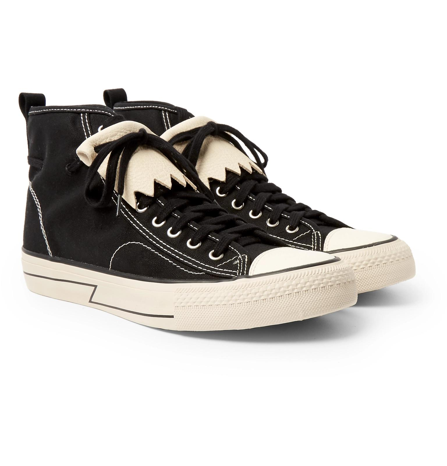 outlet marketable clearance cheap online visvim Skagway Fringed Leather-Trimmed Canvas High-Top Sneakers FFM2hPXvUb