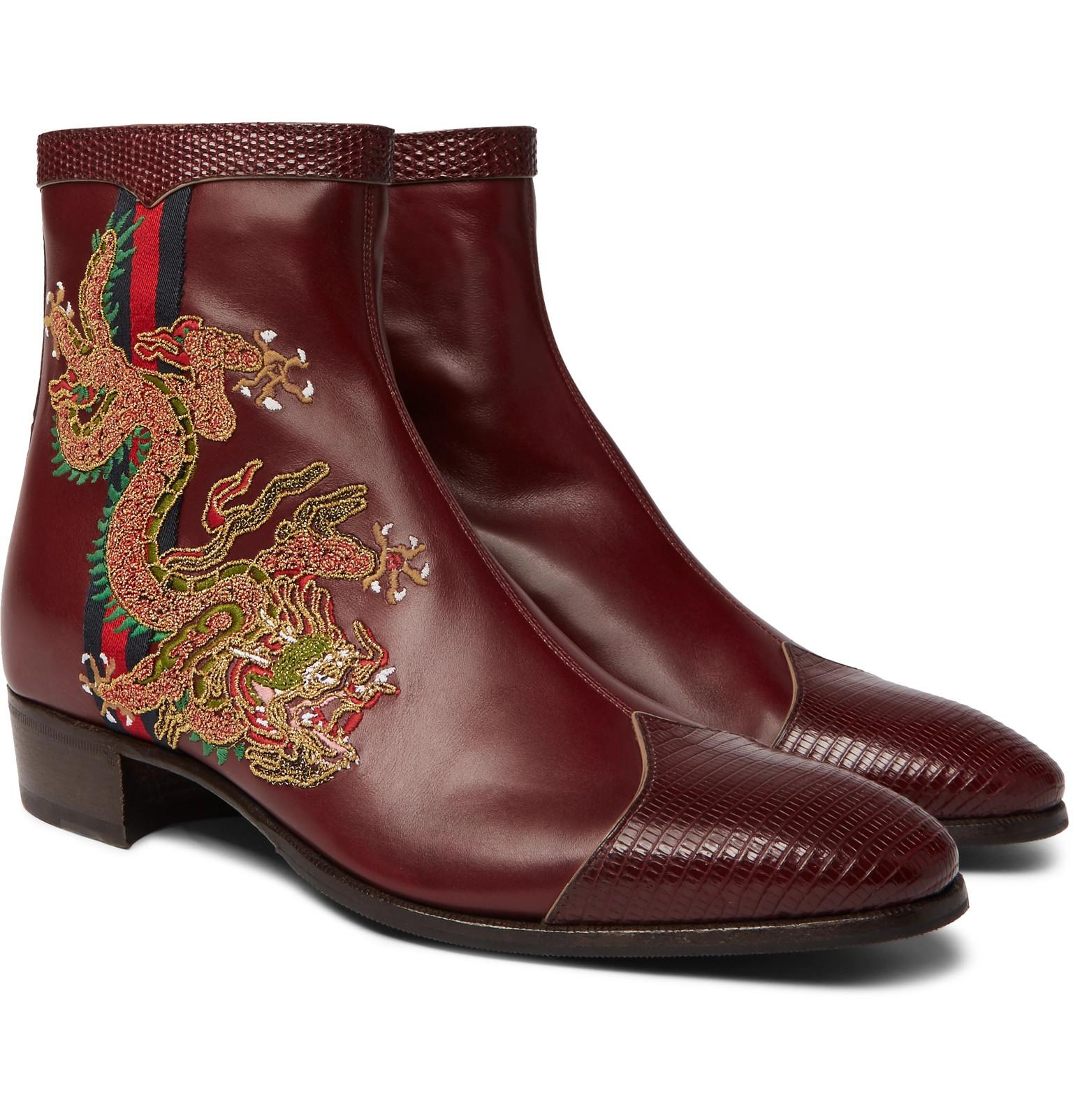 f12217a9f1b Gucci Webbing-trimmed Embroidered Leather Chelsea Boots in Red for ...