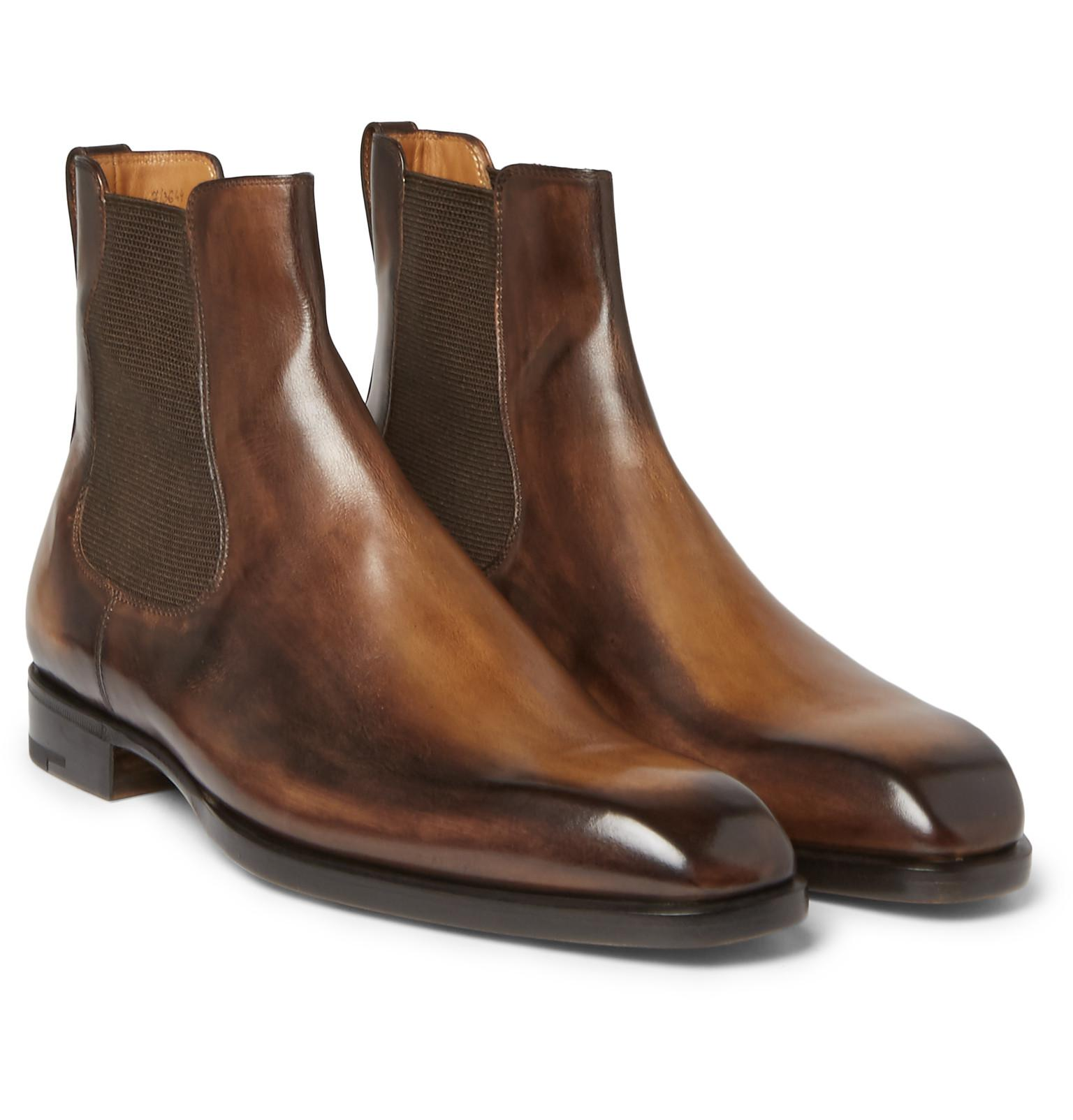 Lyst Berluti Leather Chelsea Boots In Brown For Men