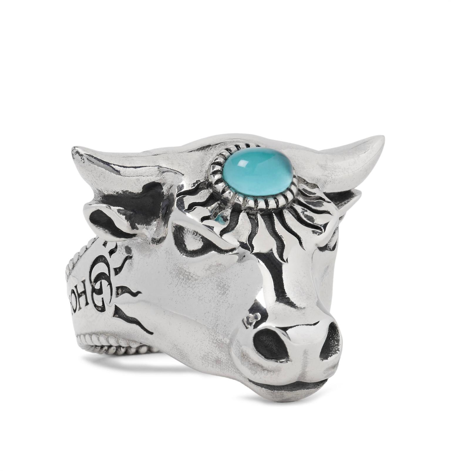 Gucci Bulls Head Sterling Silver And Glass Ring - Silver g1Kg6