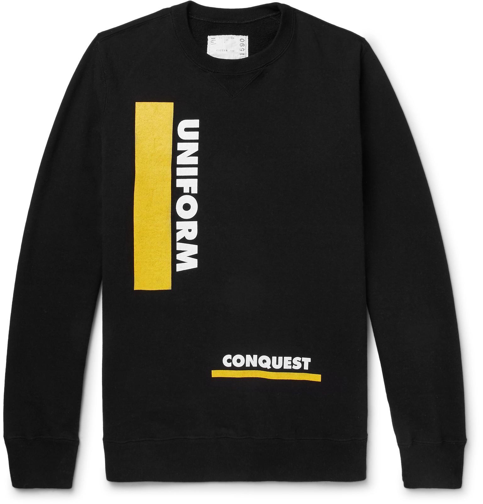 SACAI Printed Loopback Cotton-jersey Sweatshirt - Black 0IBzwRfWnS