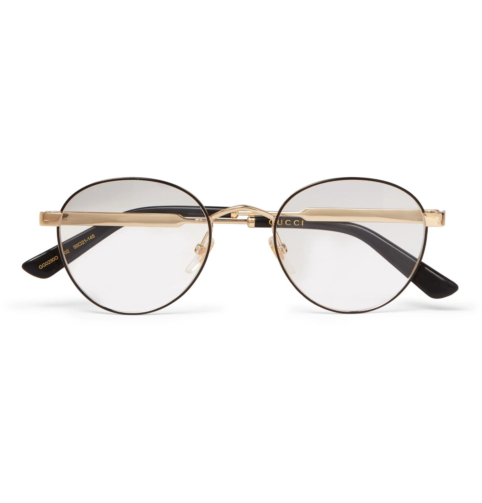 9e53f8cfb86de Lyst - Gucci Round-frame Gold-tone And Enamel Optical Glasses in ...