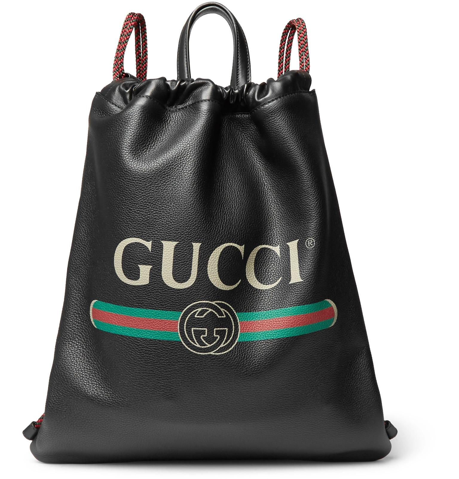 e591458b26ae Gucci - Black Printed Full-grain Leather Backpack for Men - Lyst. View  fullscreen