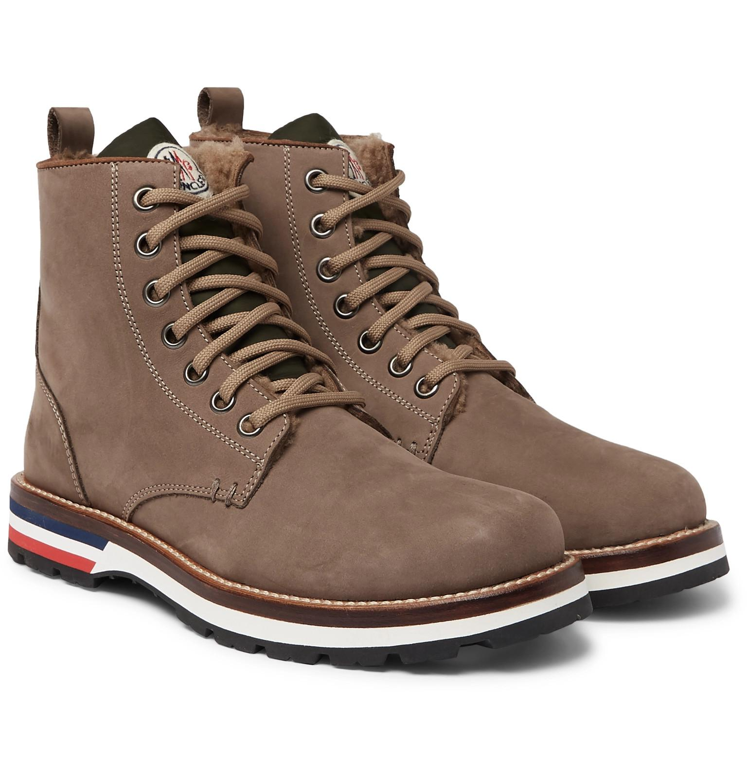 915de7aec039 Lyst - Moncler New Vancouver Shearling-lined Suede And Shell Boots ...