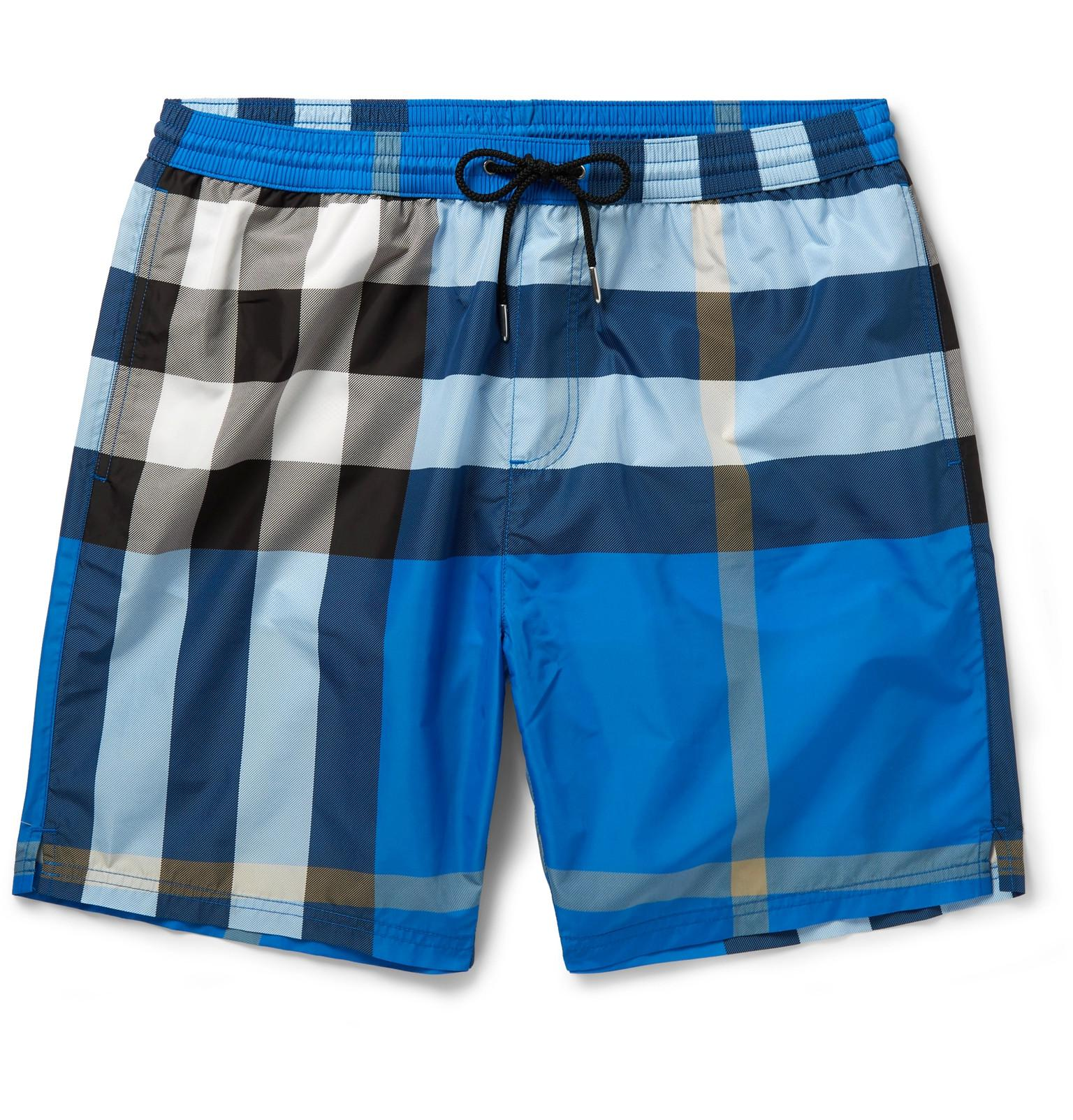 2c9b0ffcf9 Burberry Mid-length Checked Swim Shorts in Blue for Men - Lyst