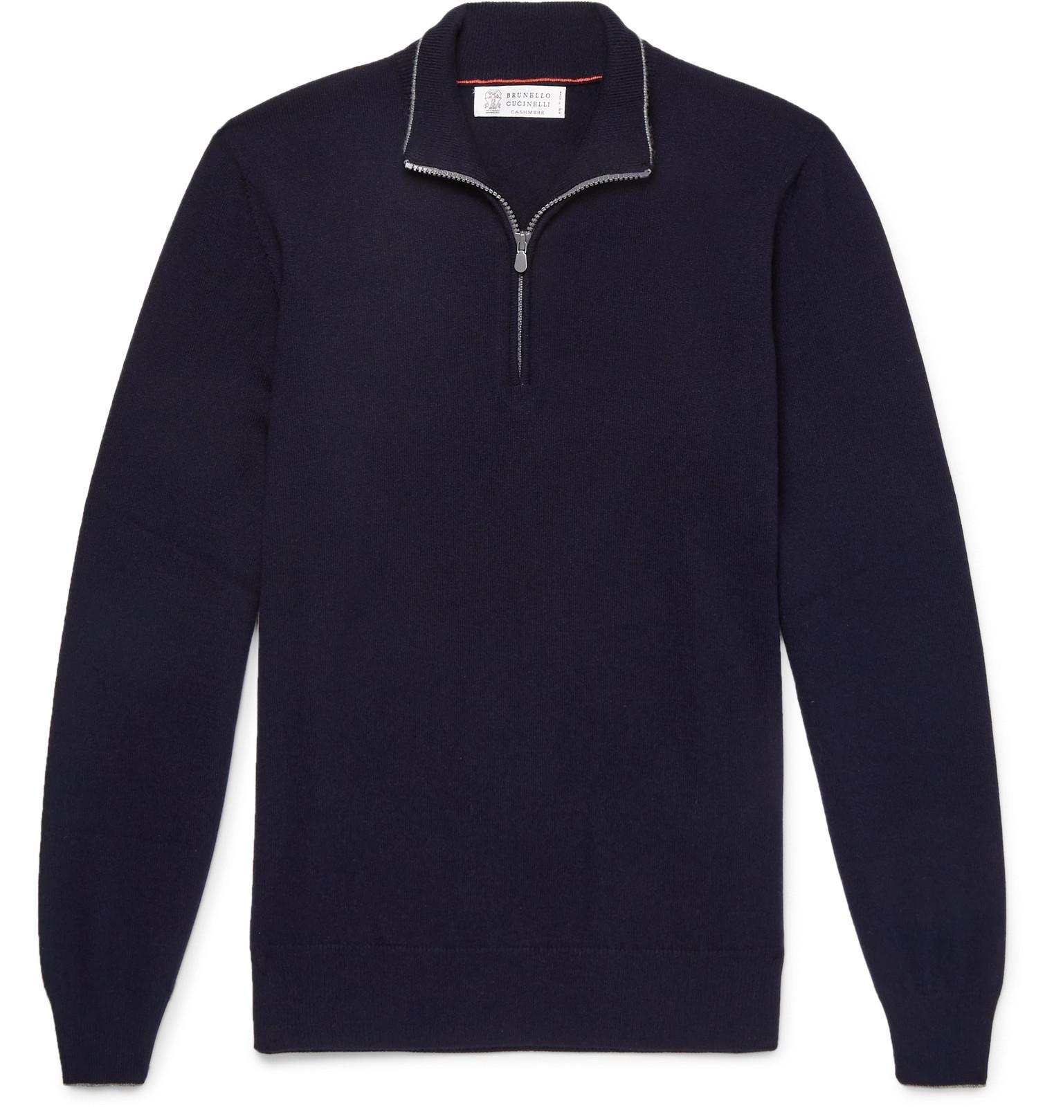 Cucinelli Sweater Zip Contrast Men's Brunello Blue Half Tipped Cashmere dWqfZznwZ