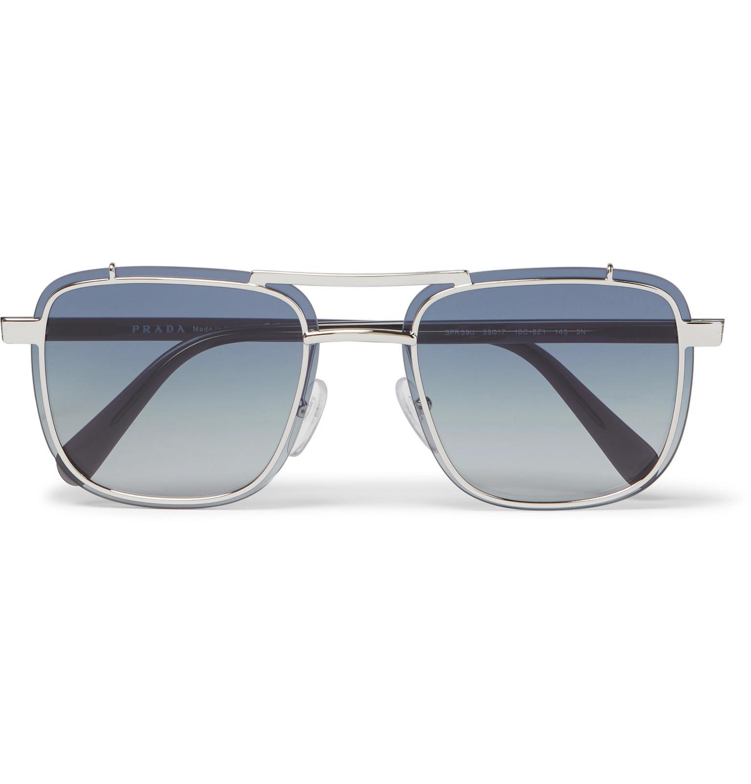 158d59e9d35 Lyst - Prada Square-frame Silver-tone And Acetate Sunglasses in ...