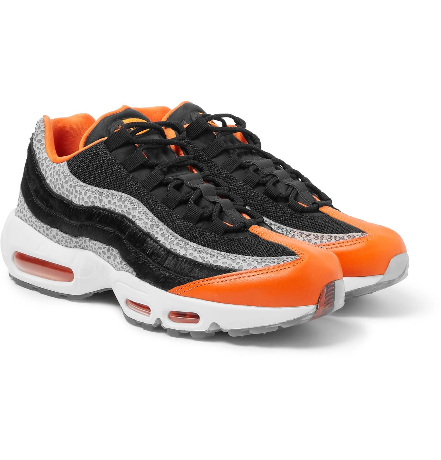 19674fa55a Nike Air Max 95 Panelled Leather And Mesh Sneakers in Black for Men ...