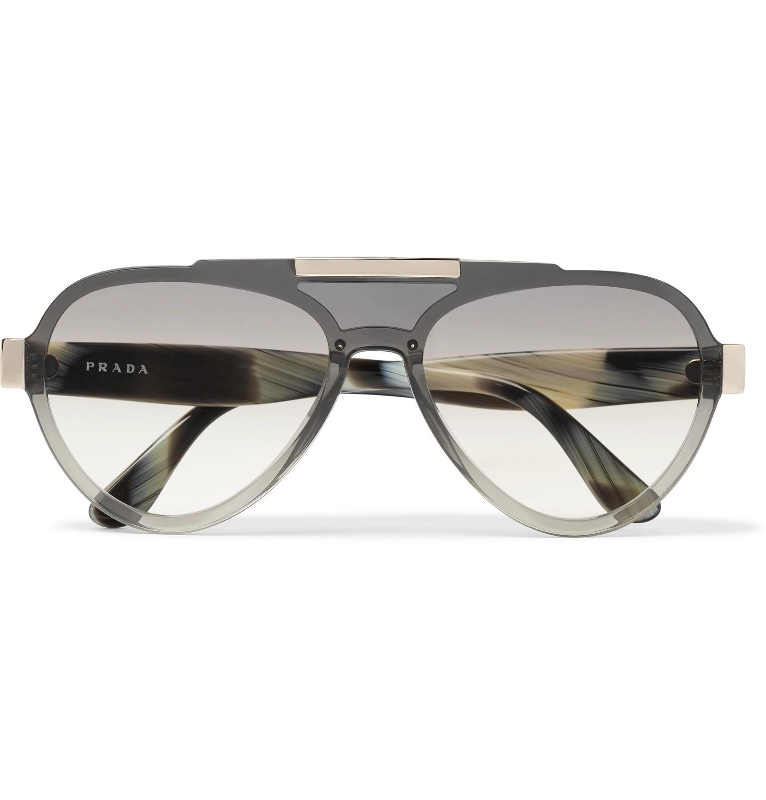 62745457360 Lyst - Prada Aviator-style Acetate And Gold-tone Sunglasses in Gray ...