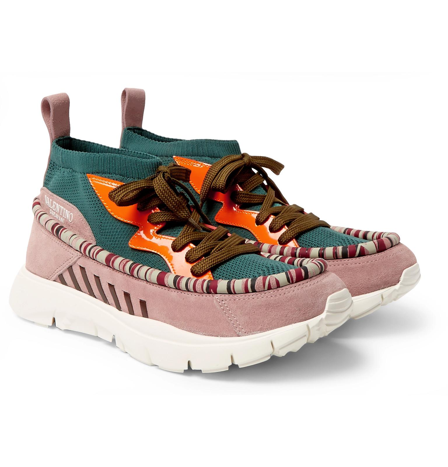 Big Sale Really Sale Online Garavani Heroes Tribe 1 Leather-trimmed Suede And Mesh Sneakers Valentino Cheap Perfect Enjoy Online Explore Cheap Online Eh4i3PSAu