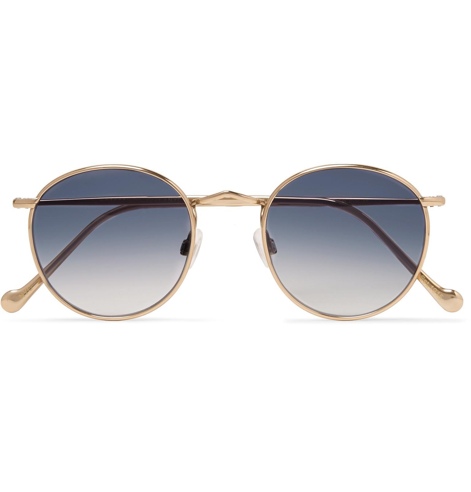 2258477c530 Lyst - Moscot Zev Round-frame Gold-tone Titanium Sunglasses in ...