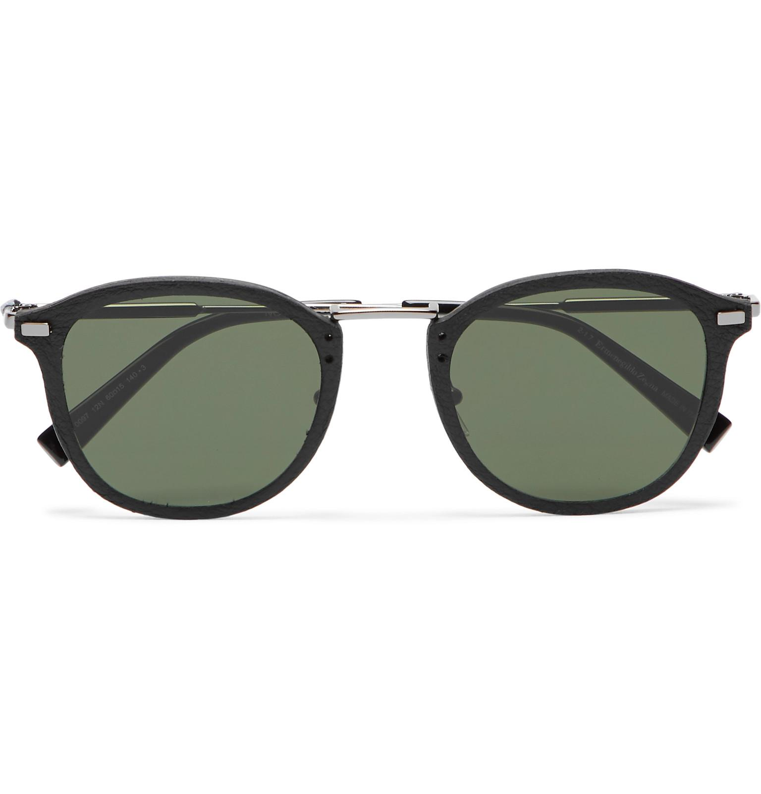 Ermenegildo Zegna Round-frame Leather-trimmed Acetate And Gunmetal-tone Sunglasses - Black hd1CN0