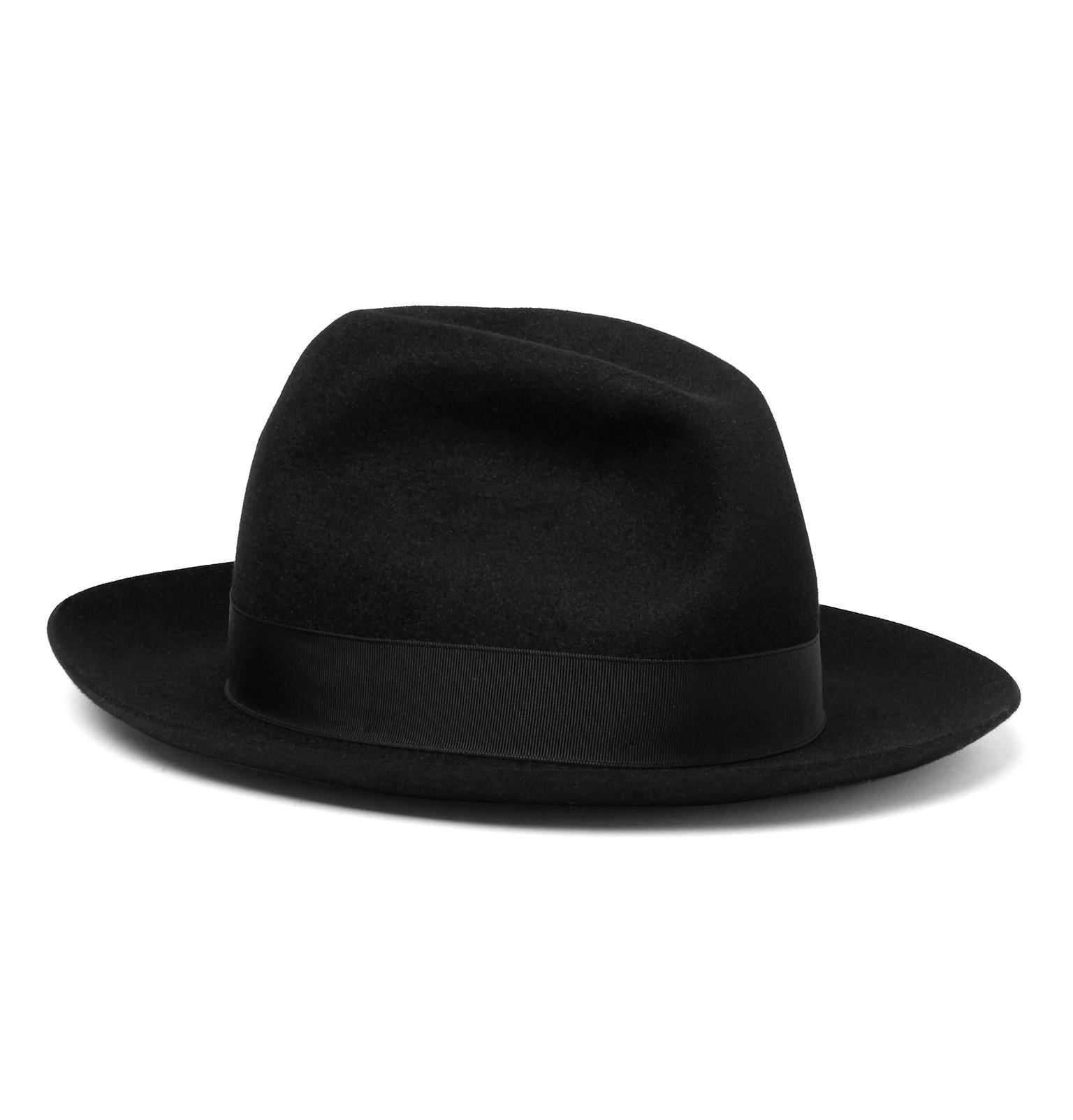 ab6815d82ea4fa Borsalino Marengo Grosgrain-trimmed Rabbit-felt Fedora in Black for ...