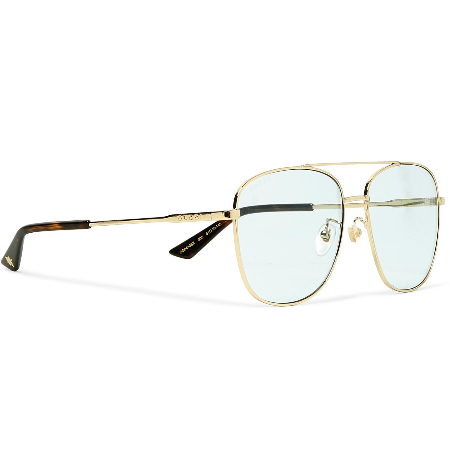 4c398bde5d0 Gucci - Metallic Aviator-style Gold-tone And Acetate Sunglasses for Men -  Lyst. View fullscreen