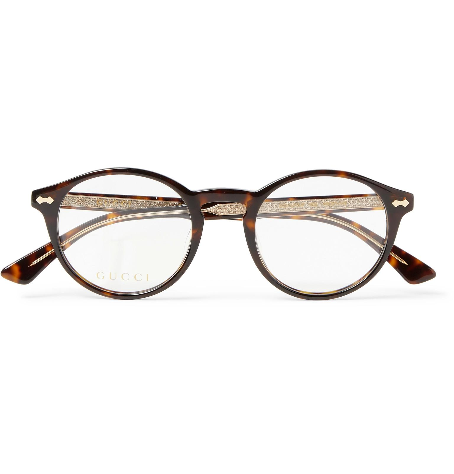 a8e6d40a972a7 Gucci Round-frame Tortoiseshell Acetate Optical Glasses in Brown for ...