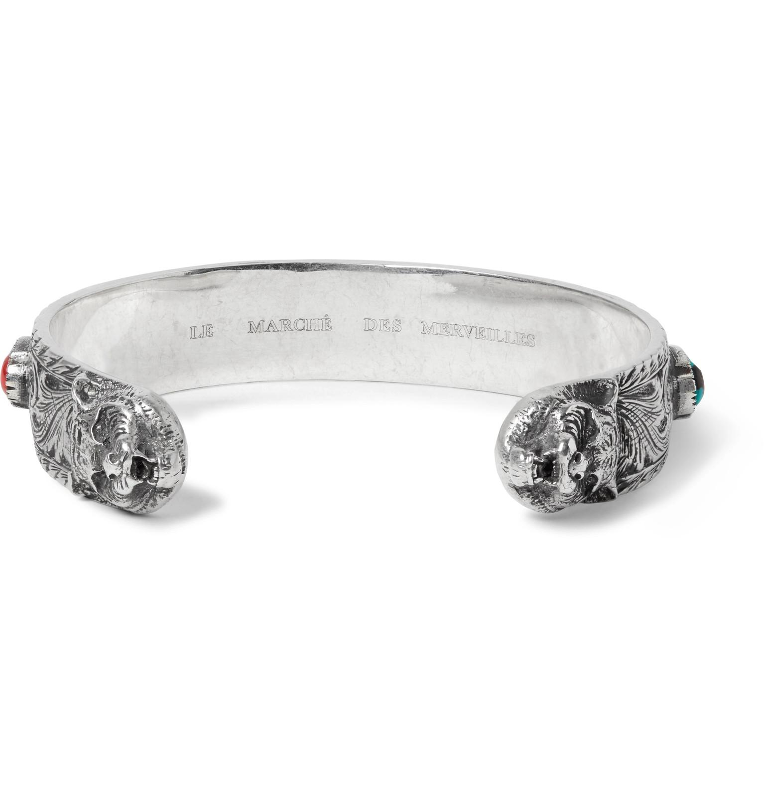 fbe44275a Gucci - Metallic Tiger Head Sterling Silver Turquoise Cuff for Men - Lyst.  View fullscreen