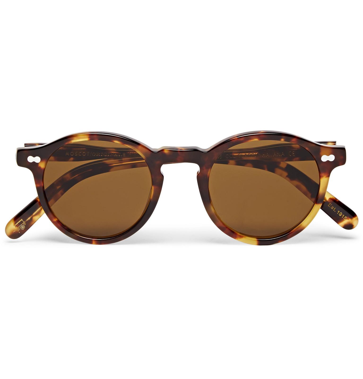 c2f6543094 Moscot. Men s Brown Miltzen Round-frame Tortoiseshell Acetate Sunglasses