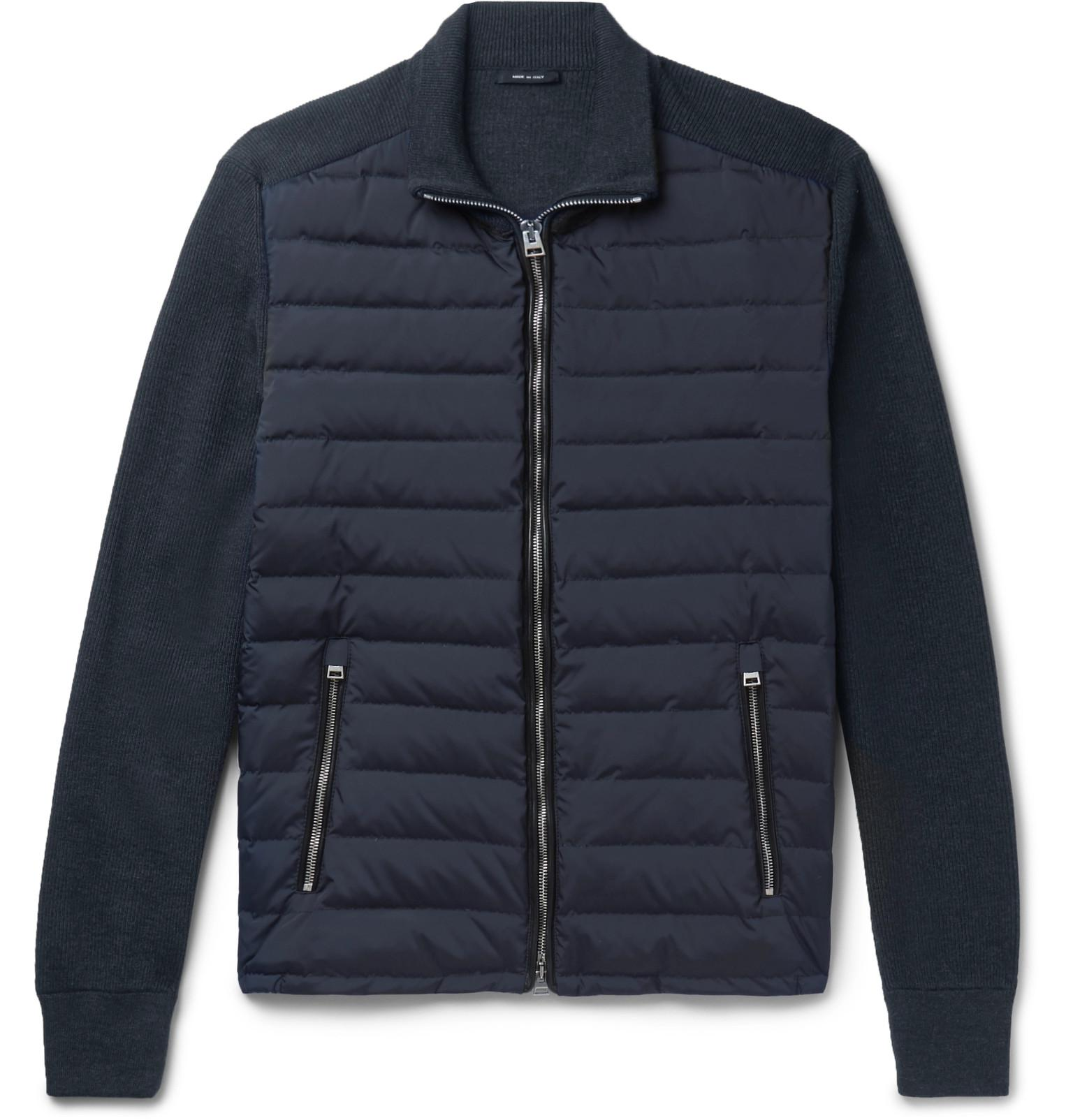 84b43700e1 Tom Ford Ribbed Wool And Quilted Shell Down Jacket in Blue for Men ...