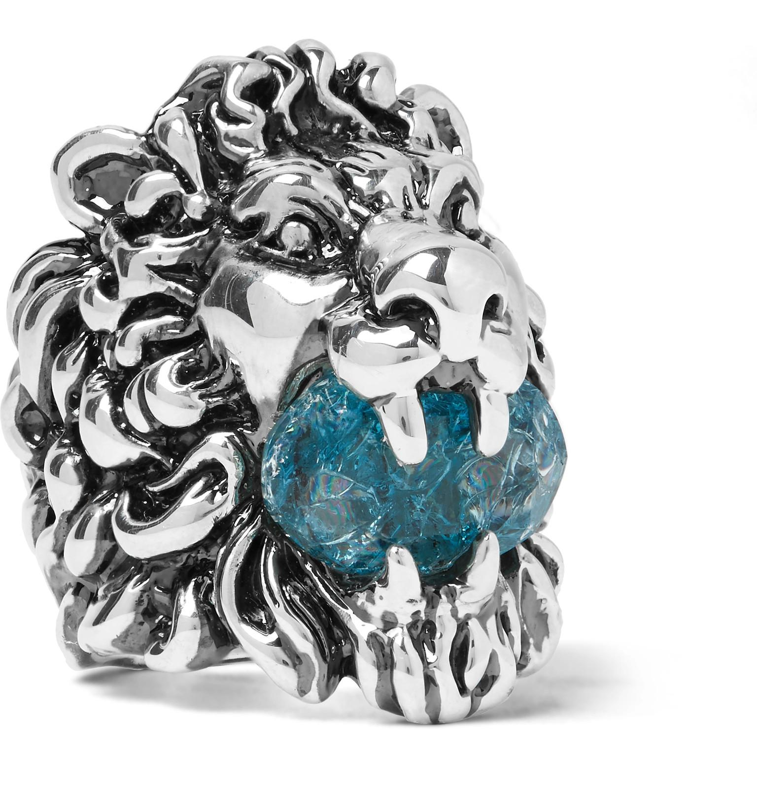 030757eed Gucci Lion's Head Silver-tone Swarovski Crystal Ring in Metallic for ...