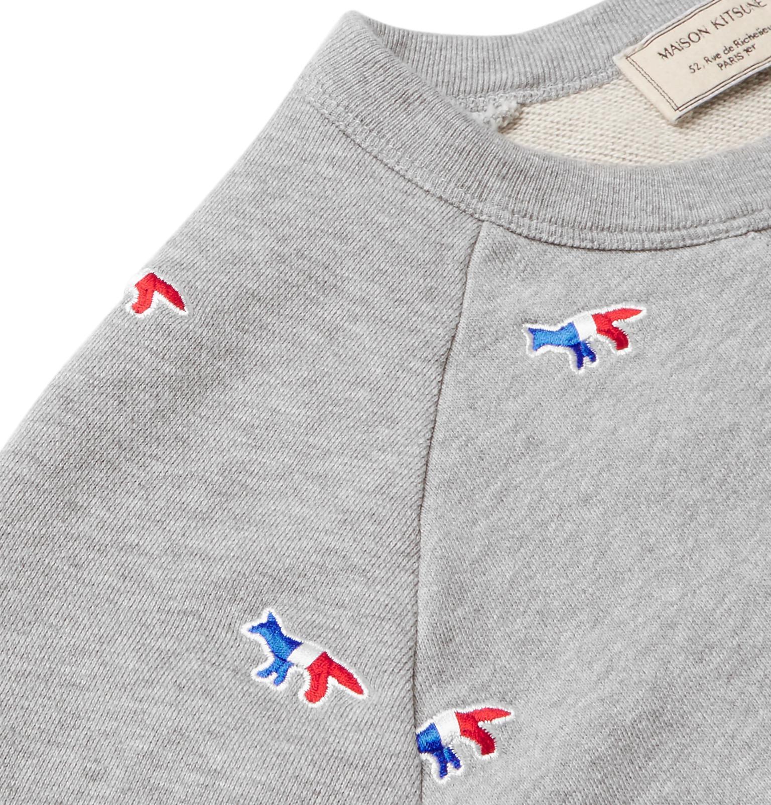 eae5e433e Jersey Gray Loopback Fullscreen Embroidered Men Kitsuné Cotton ...