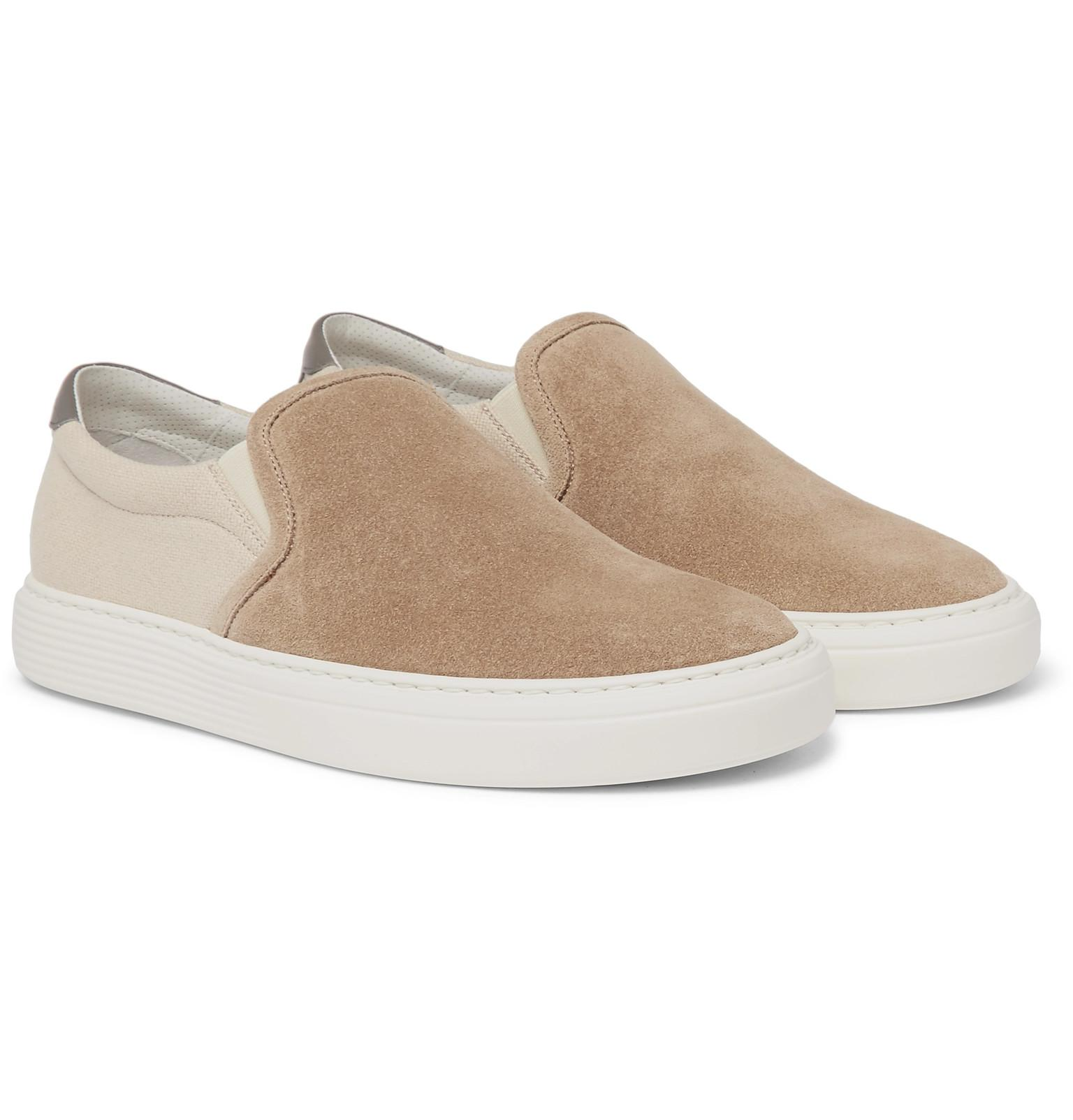 Suede And Canvas Slip-on Sneakers Brunello Cucinelli pizKRFrKyA