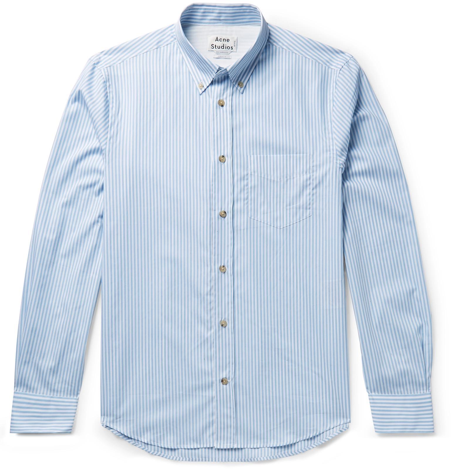 eb1fc5170b Lyst - Acne Isherwood Button-down Collar Striped Cotton-poplin Shirt ...
