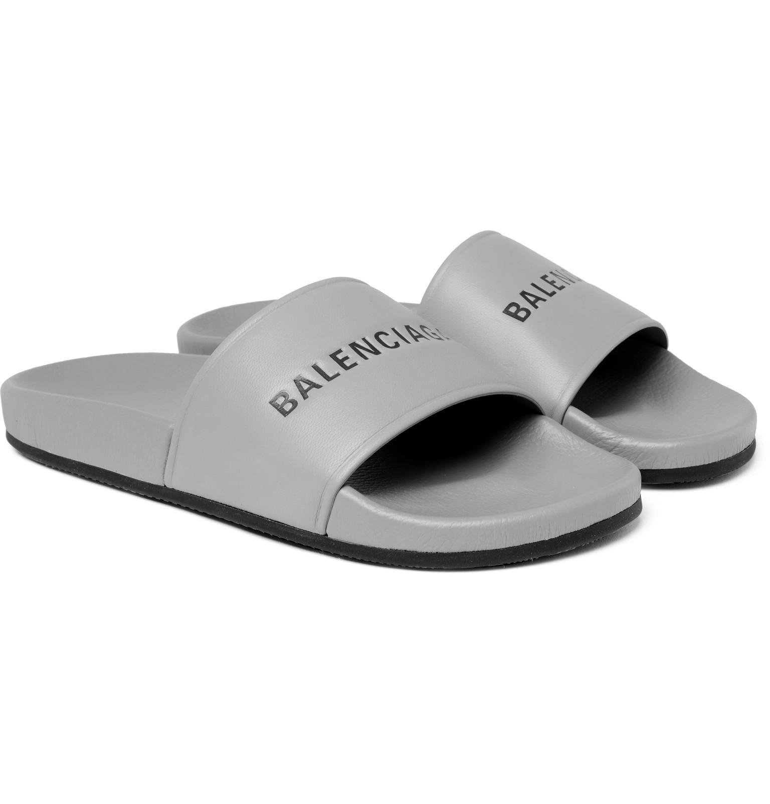 f8f28d63d94 Balenciaga Printed Leather Slides in Gray for Men - Lyst
