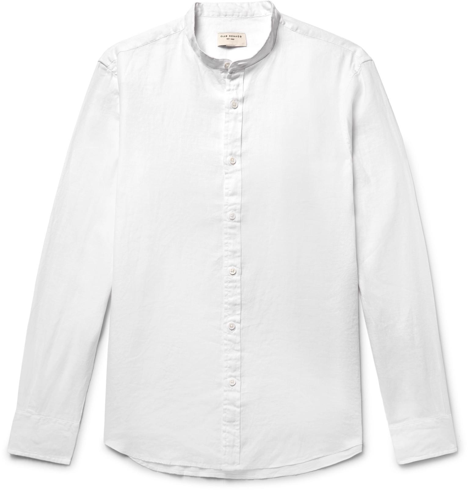 CLUB MONACO Slim-fit Grandad-collar Linen Shirt - Black ohGblC