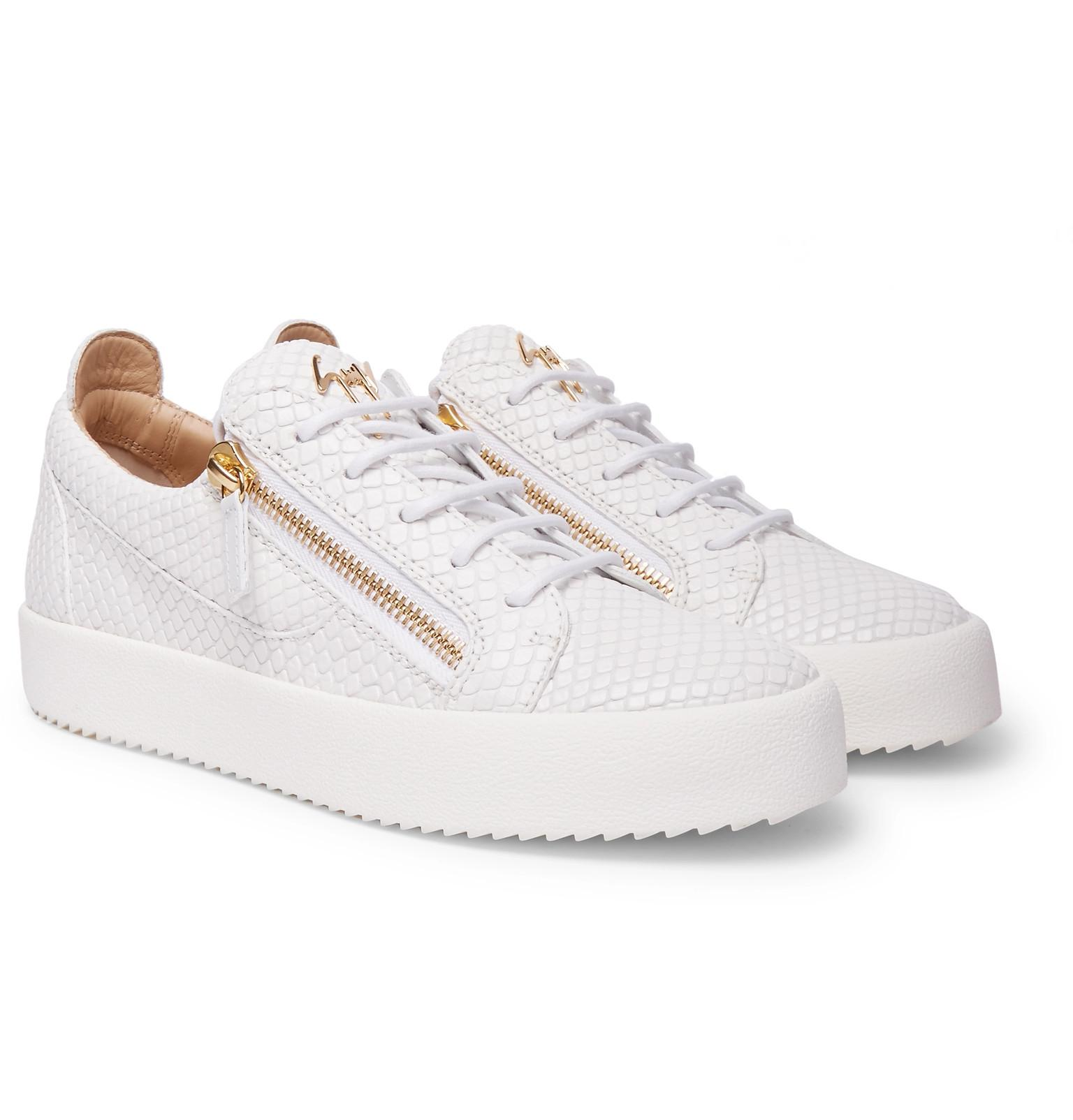027e0da83b3a2 Giuseppe Zanotti Logoball Snake-effect Leather Sneakers in White for ...