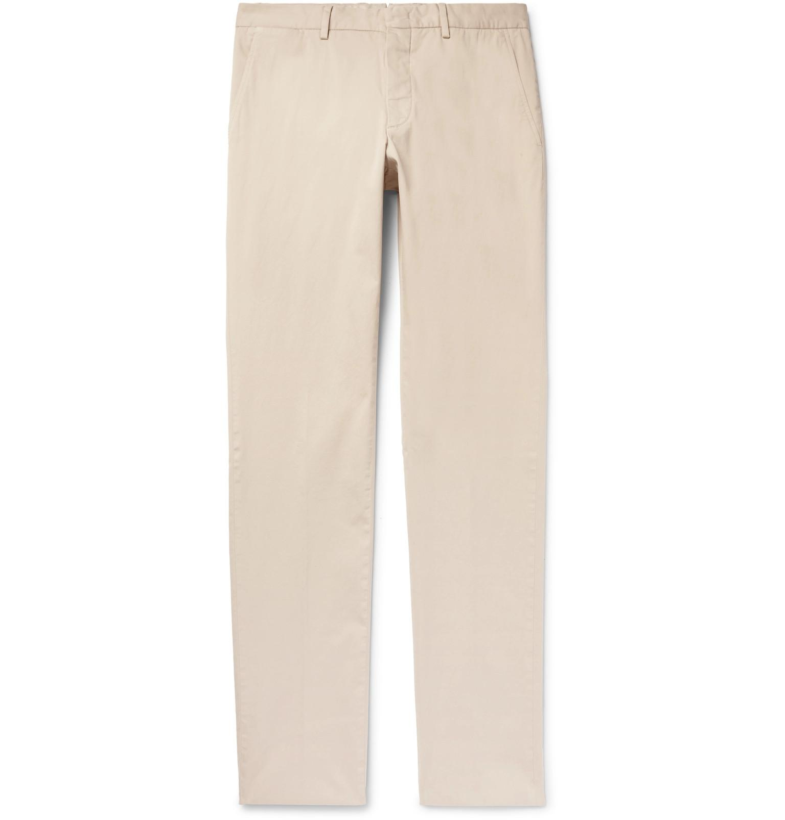 Slim-fit Garment-dyed Stretch-cotton Twill Trousers Ermenegildo Zegna