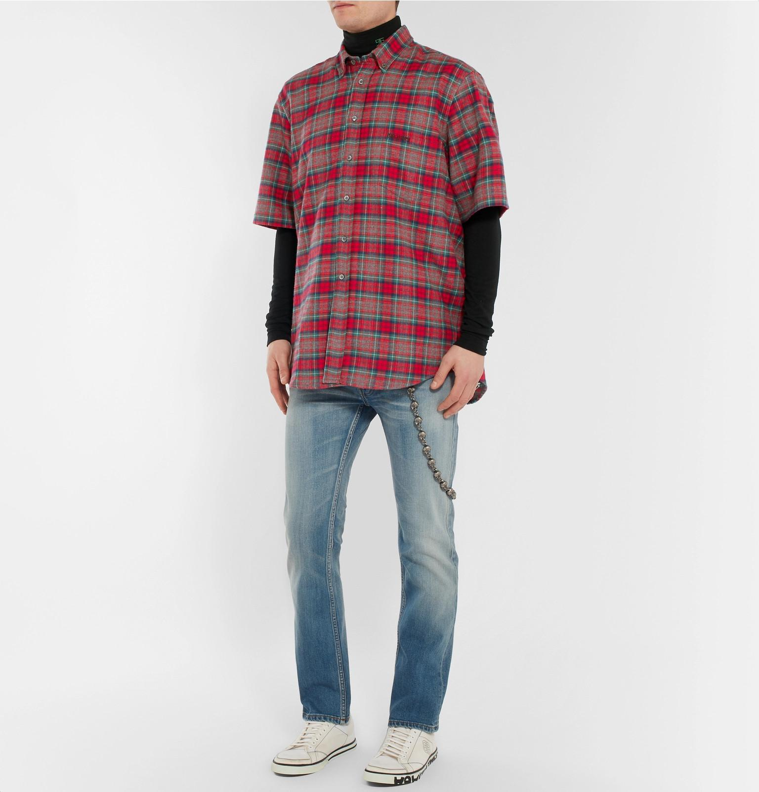 238626accabbf2 vetements-red-Oversized-Button-down-Collar-Checked-Cotton-flannel-Shirt.jpeg