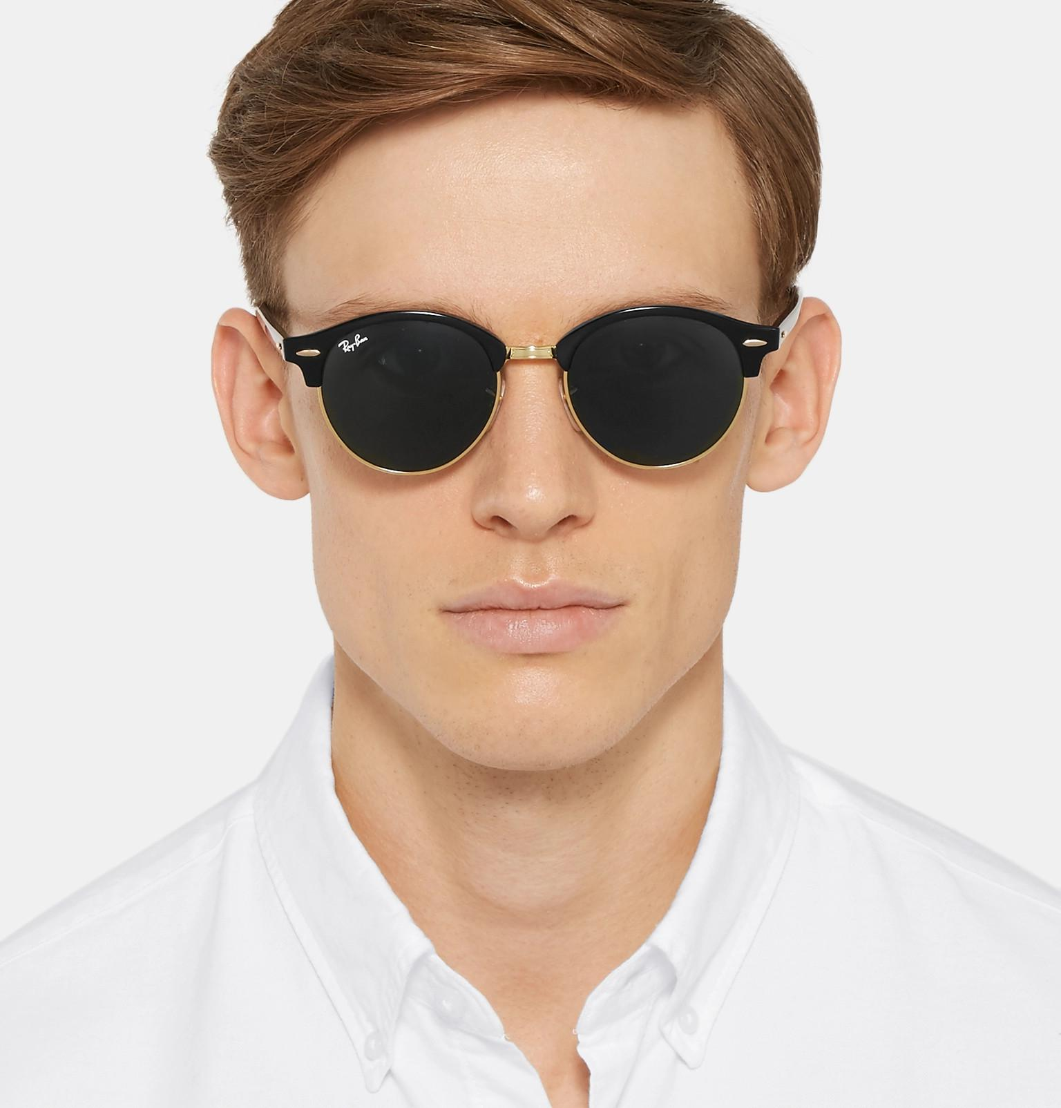 4b1b8a7cf1 Ray-Ban - Black Clubmaster Round-frame Acetate And Gold-tone Polarised  Sunglasses. View fullscreen
